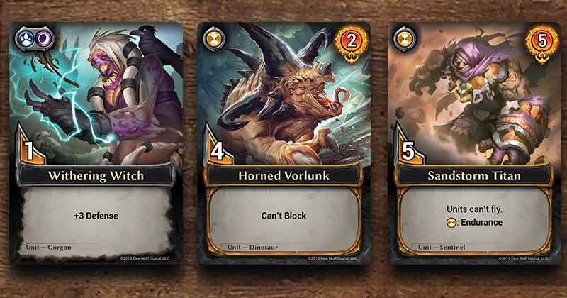 Three cards with three different skills: Defense, Can't Block, Endurance
