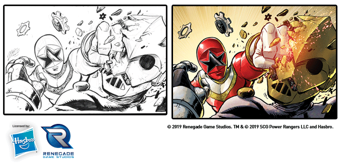 Tommy Oliver as Zeo Red punching a cog in black and white sketch and in color