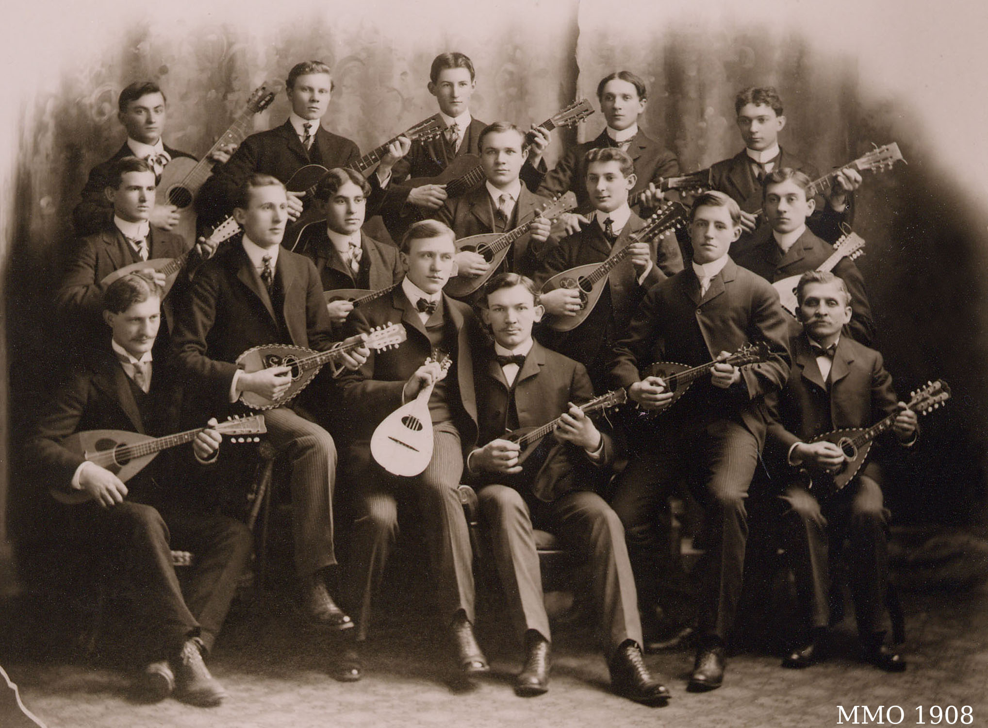 The Milwaukee Mandolin Orchestra (MMO)in 1908. This picture shows some of the original membersof the oldest fretted-instrument music organization in the United States.