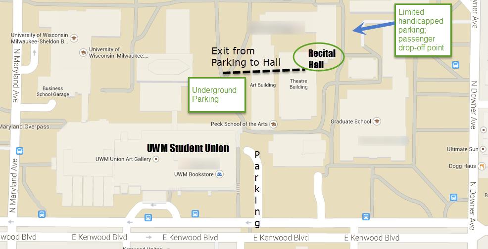 Map to UW-Milwaukee Recital Hall