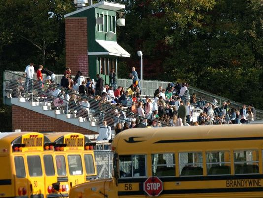 In this 2016 photo, Mount Pleasant High School students evacuate the school and wait in the bleacher stands outside while Delaware State Police search the school after receiving a bomb threat. (Photo: CARLA VARISCO/STAFF PHOTOGRAPHER)
