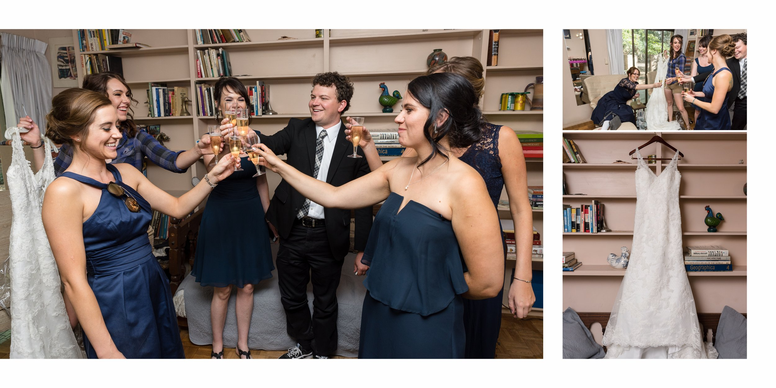 Bridal party having champagne toast in farm room