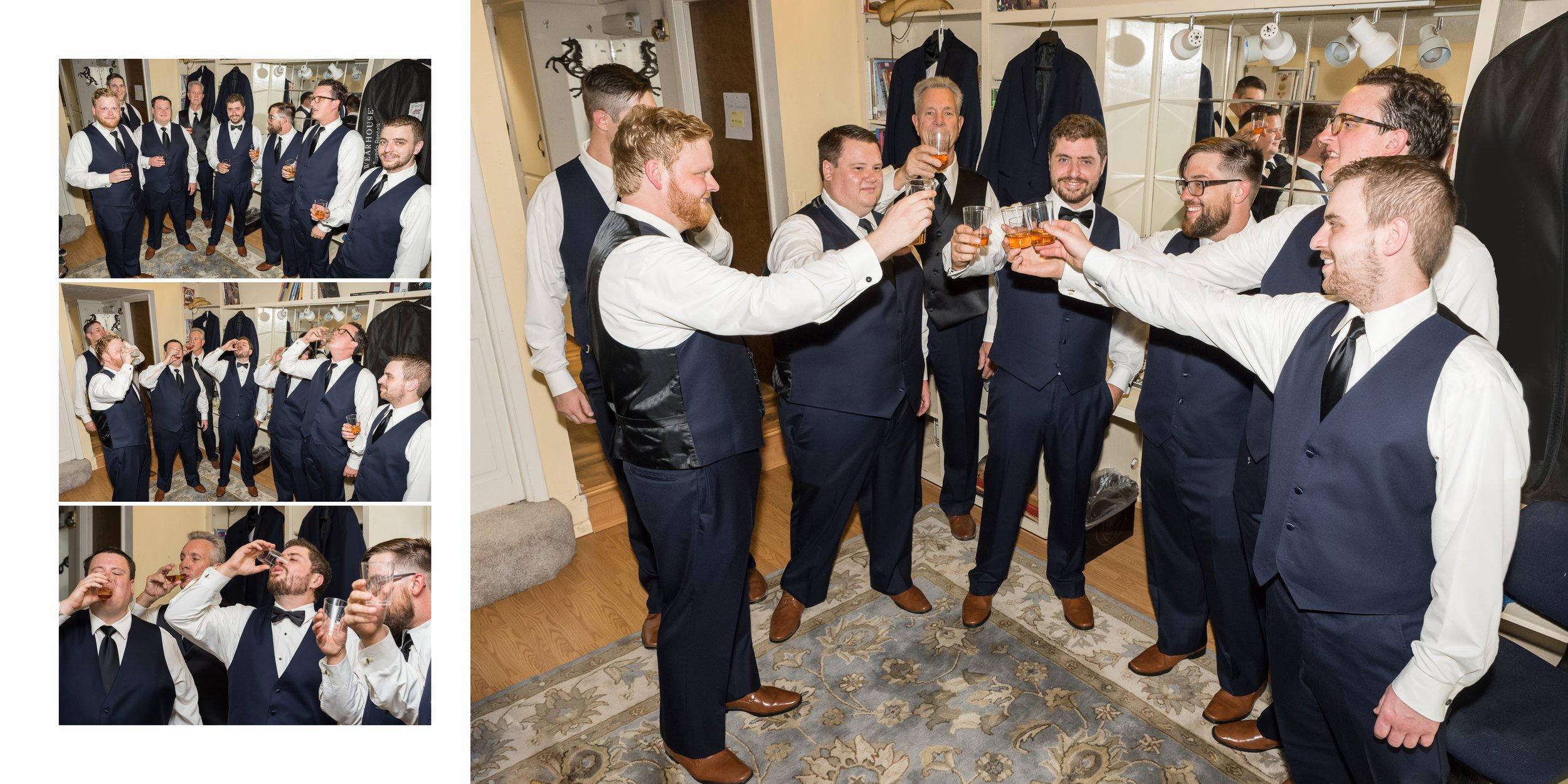 Nick and the groomsmen enjoy Bourbon shots