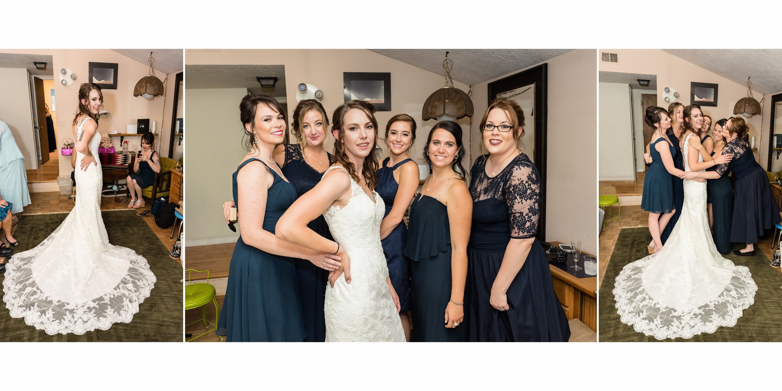 Haley and her Bridesmaids pose for portraits in the getting ready room