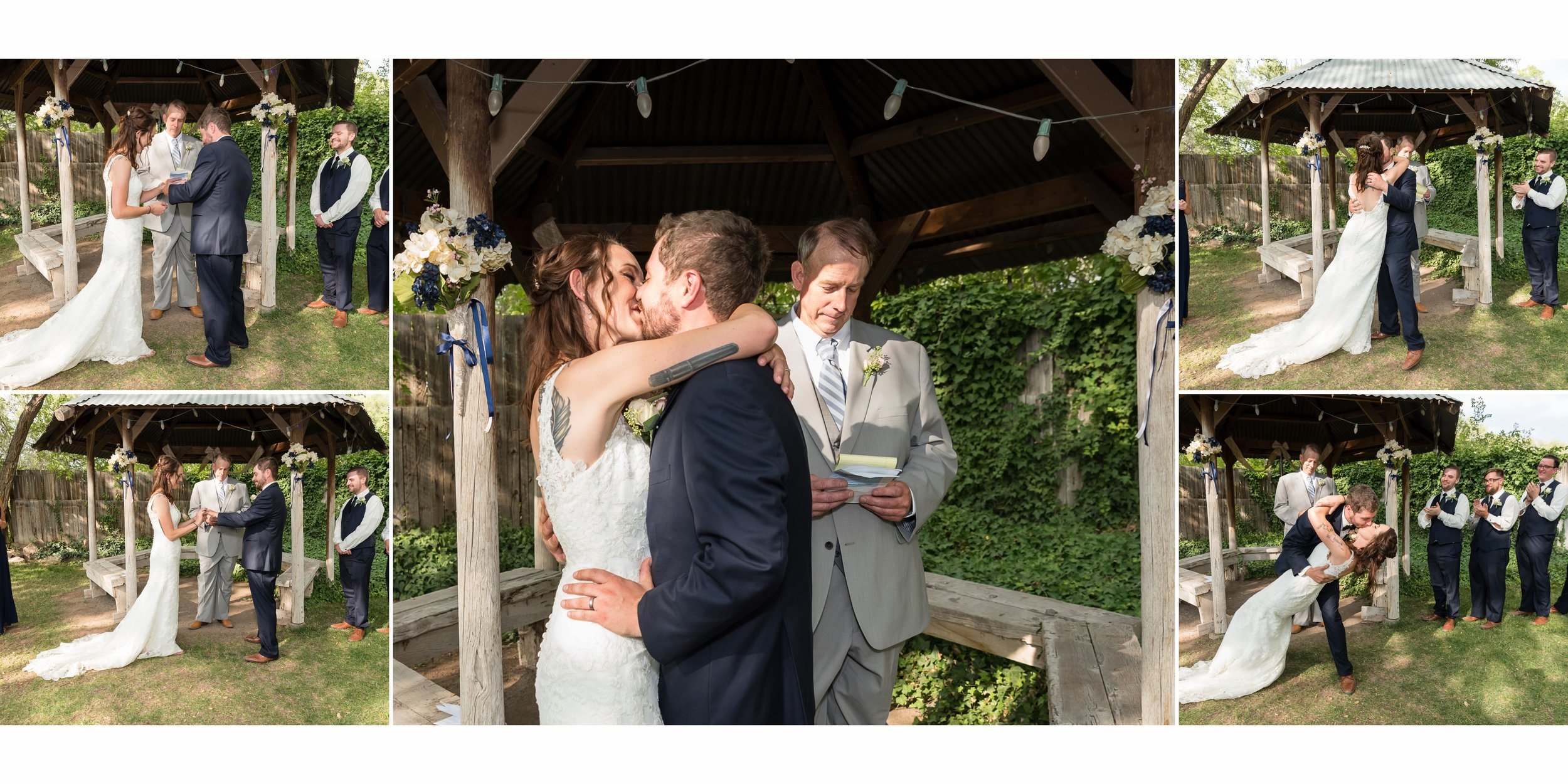 The wedding ceremony in front of the gazebo at Old Town Farm