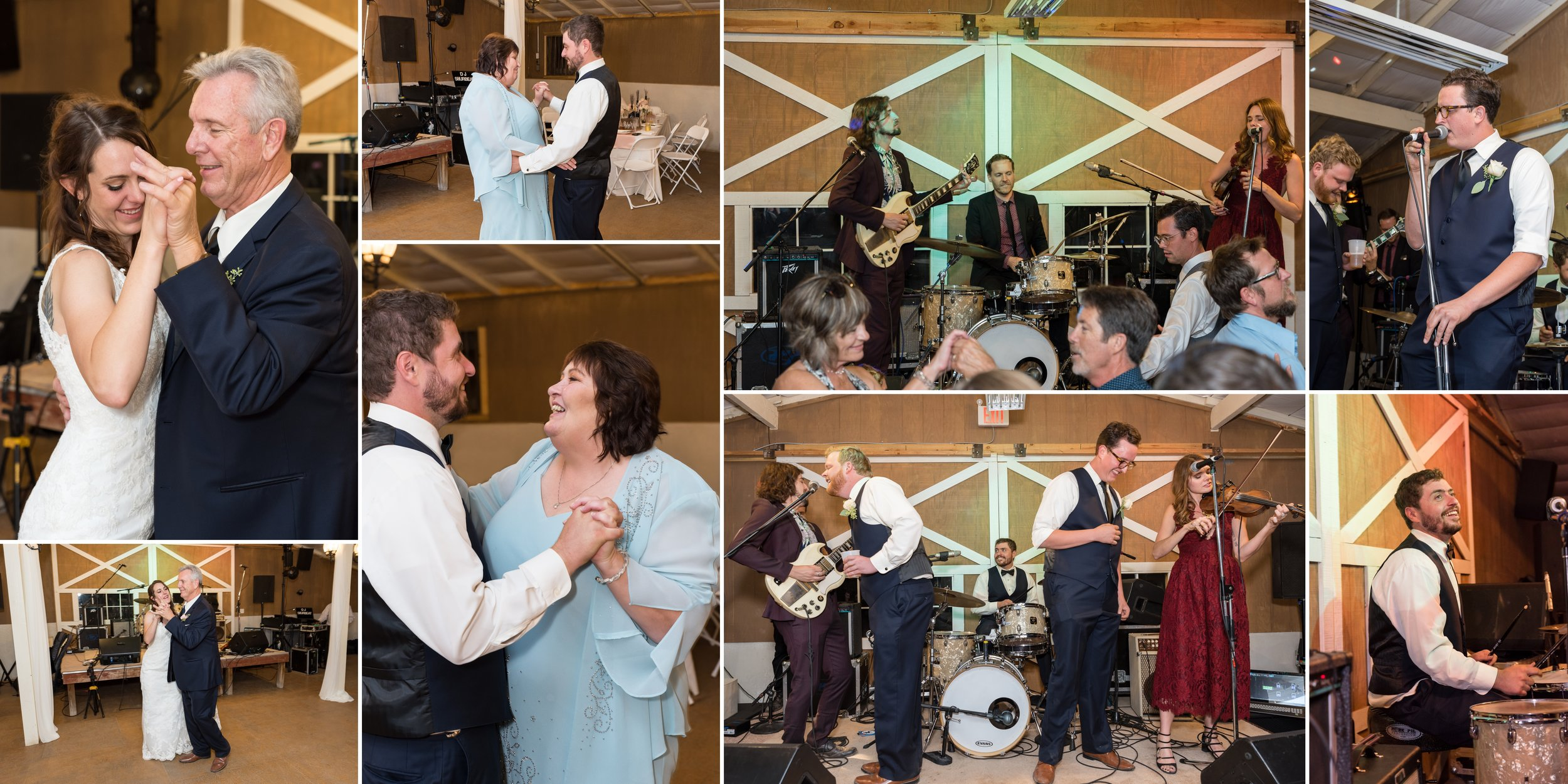 Bride and groom dancing with their parents and jamming with Nick's old band
