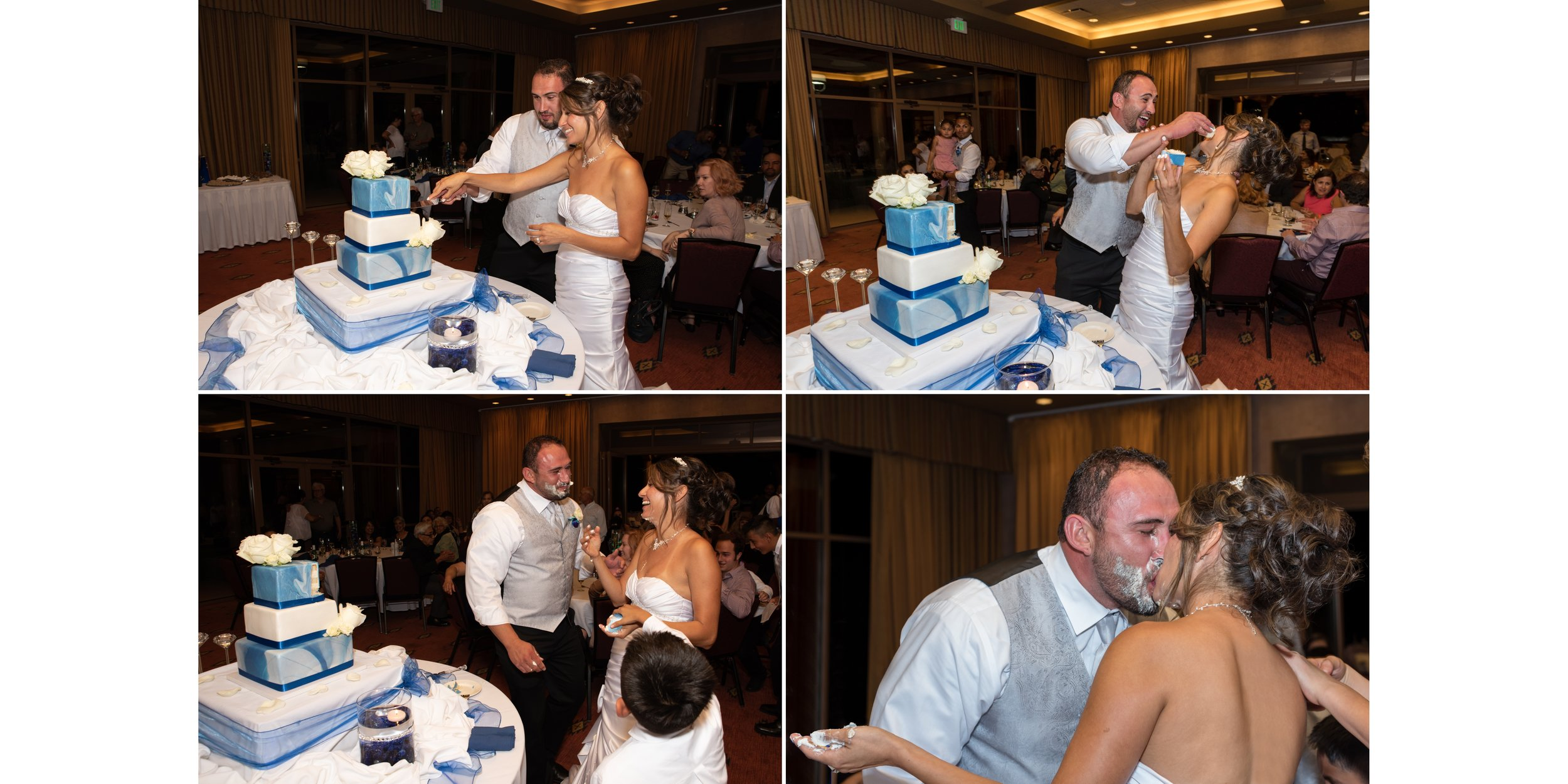 Bride and Groom cutting the cake!