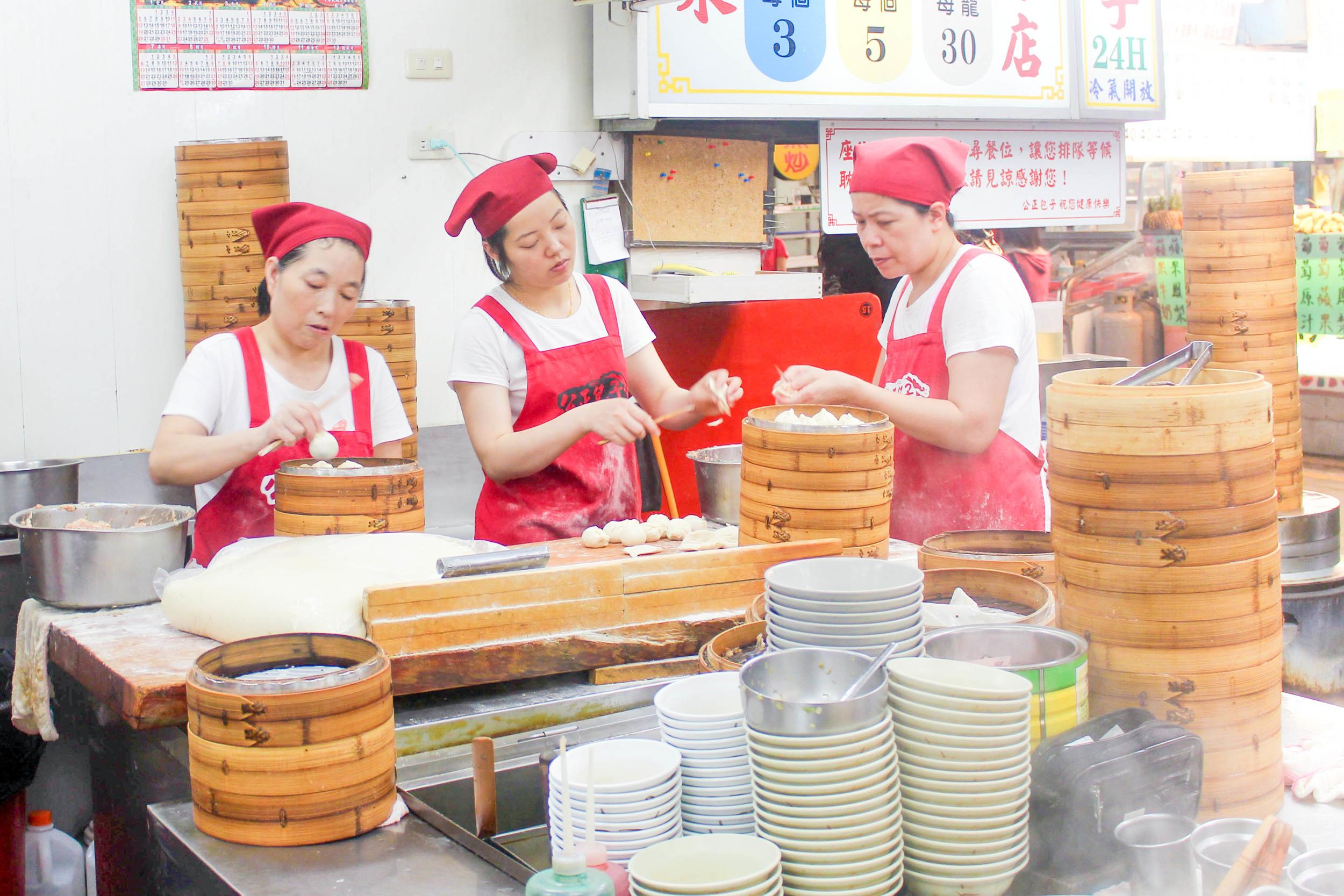 Taiwanese-style xiaolongbao soup dumplings (it's a bun versus a rice flour wrap) made in Hualien City, Taiwan.
