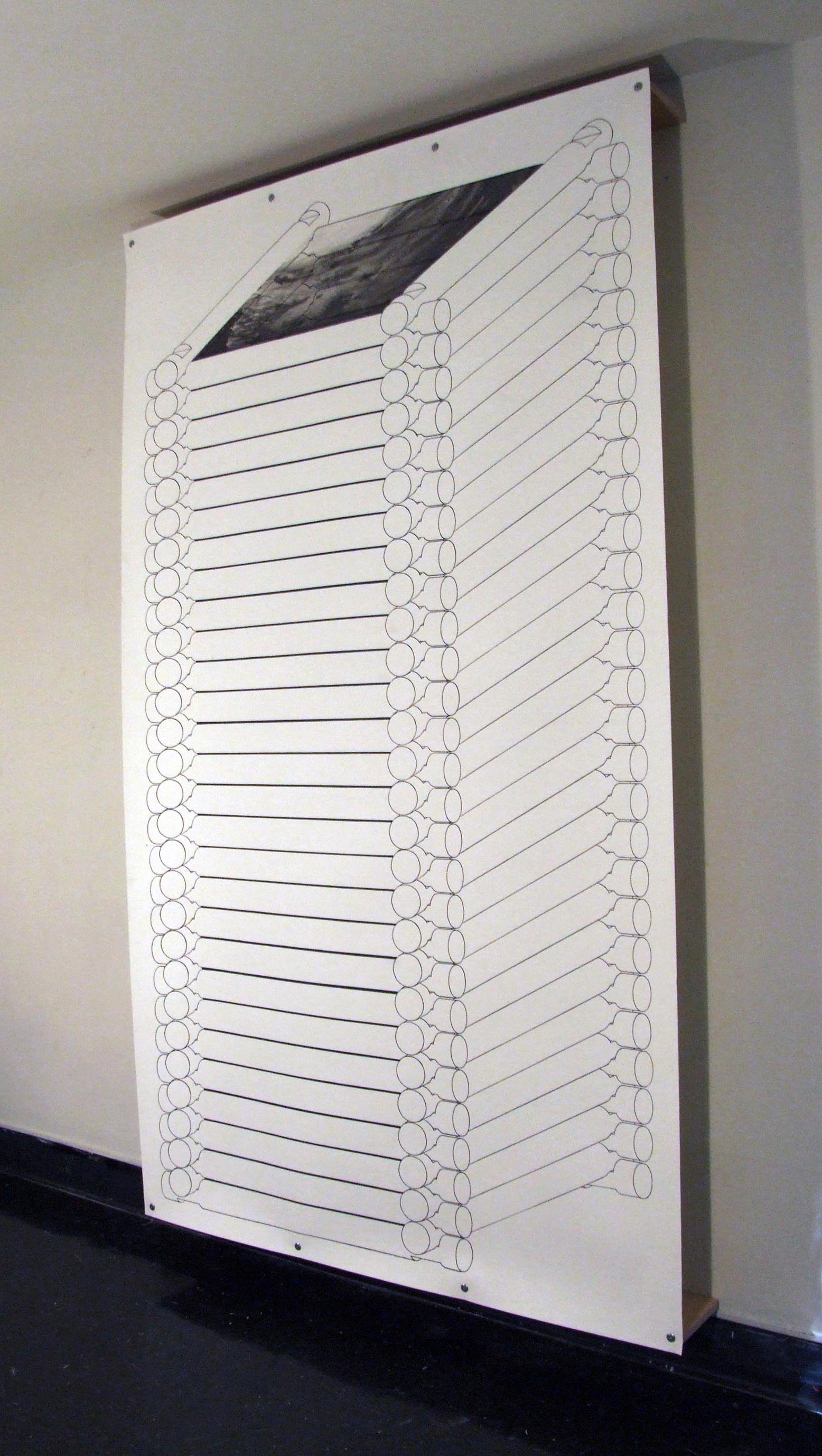 "Tower #1, installation, 2011, screenprint, 8' 9"" x 5'"