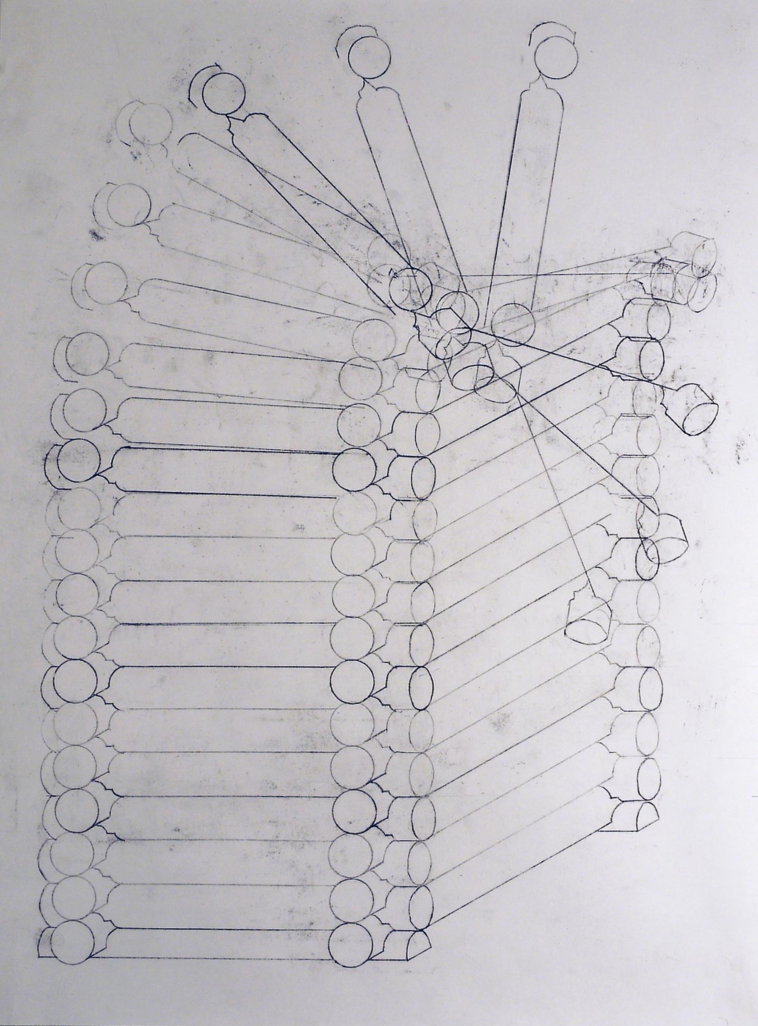 """Falling Tower, 2013, drawing with carbon paper, 18 x 24"""""""