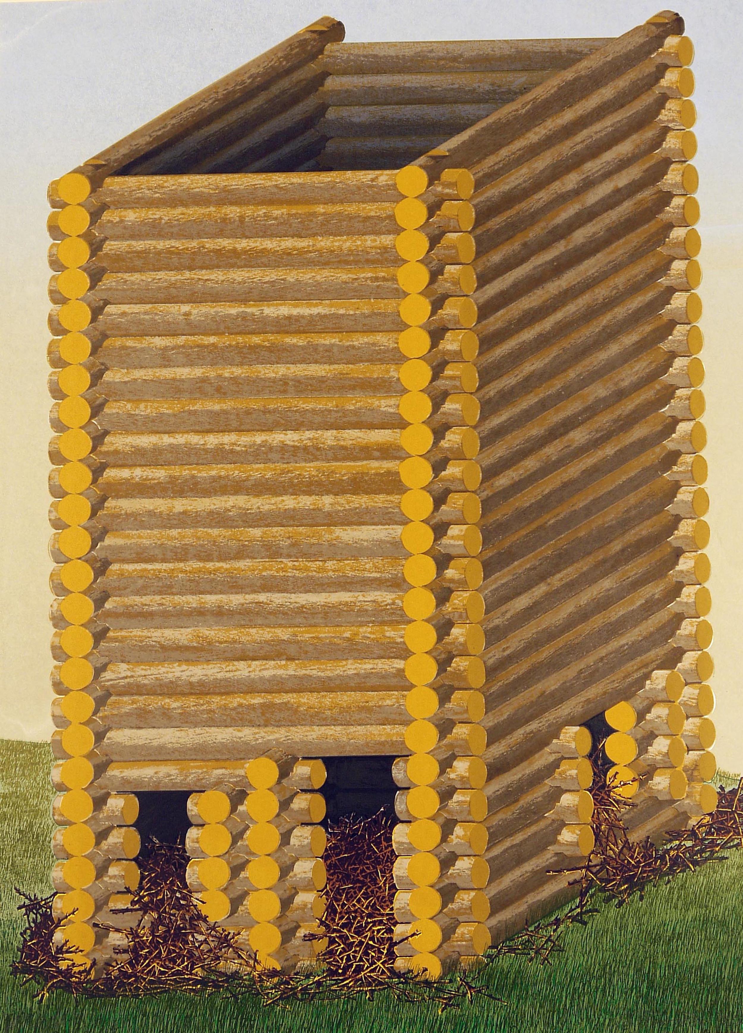 "Log Tower with Twigs, 2013, screenprint, 22 x 30"""