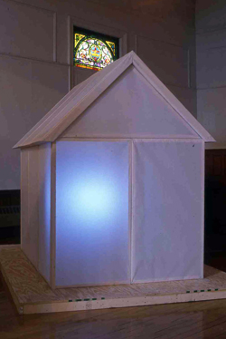 TV House, installation, 2003, wood and paper, TV, 8' L, x 6' W, x 10' H