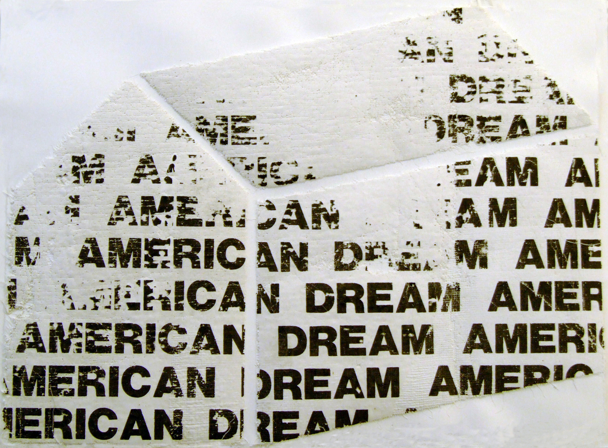 """American Dream Recycled, 2002, screenprint on plaster cheesecloth, 11x15"""""""