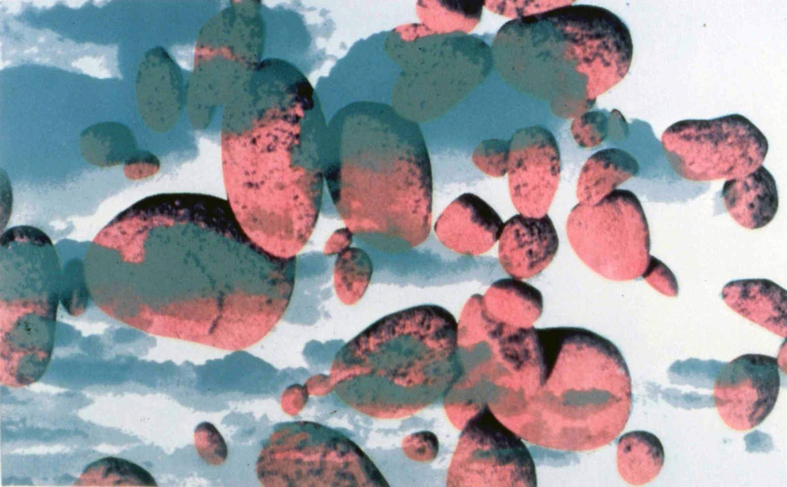 Rock and Clouds Series #2, 1978, screen print on photo, 8 x 10""