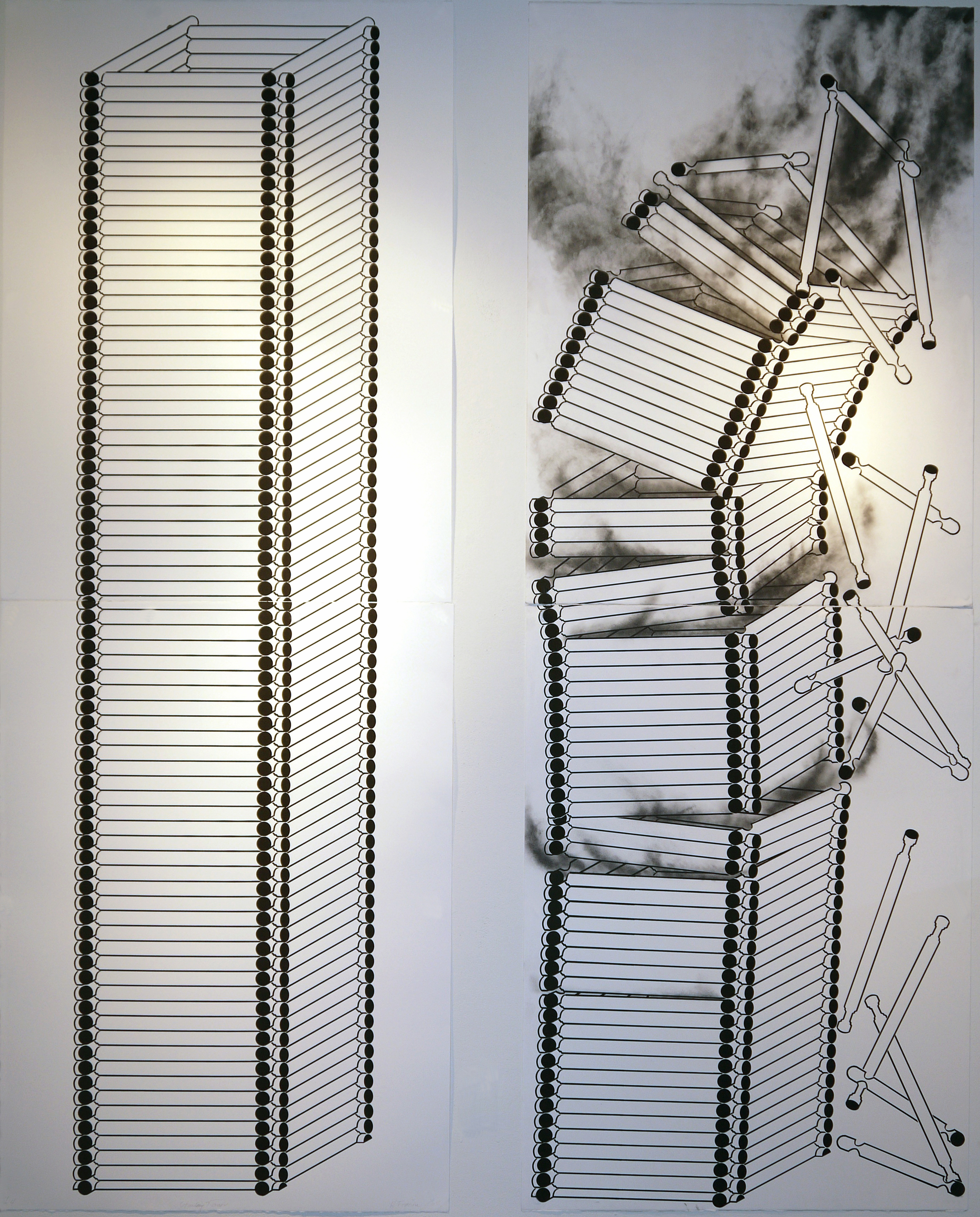"Standing Tower Burning Tower, 2015, screenprint diptych, ea image 35"" x 7' 10"""