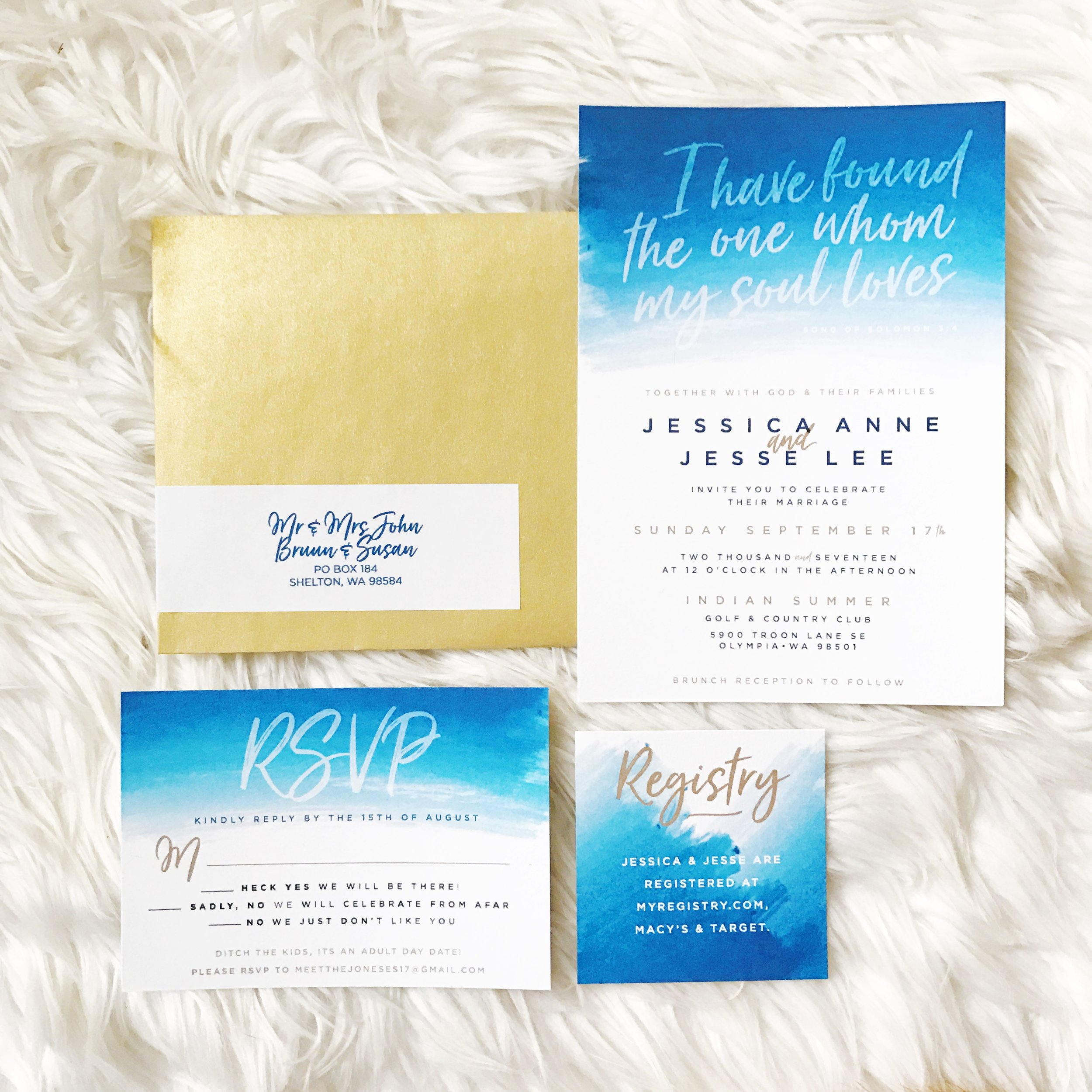 Navy and gold custom wedding suite