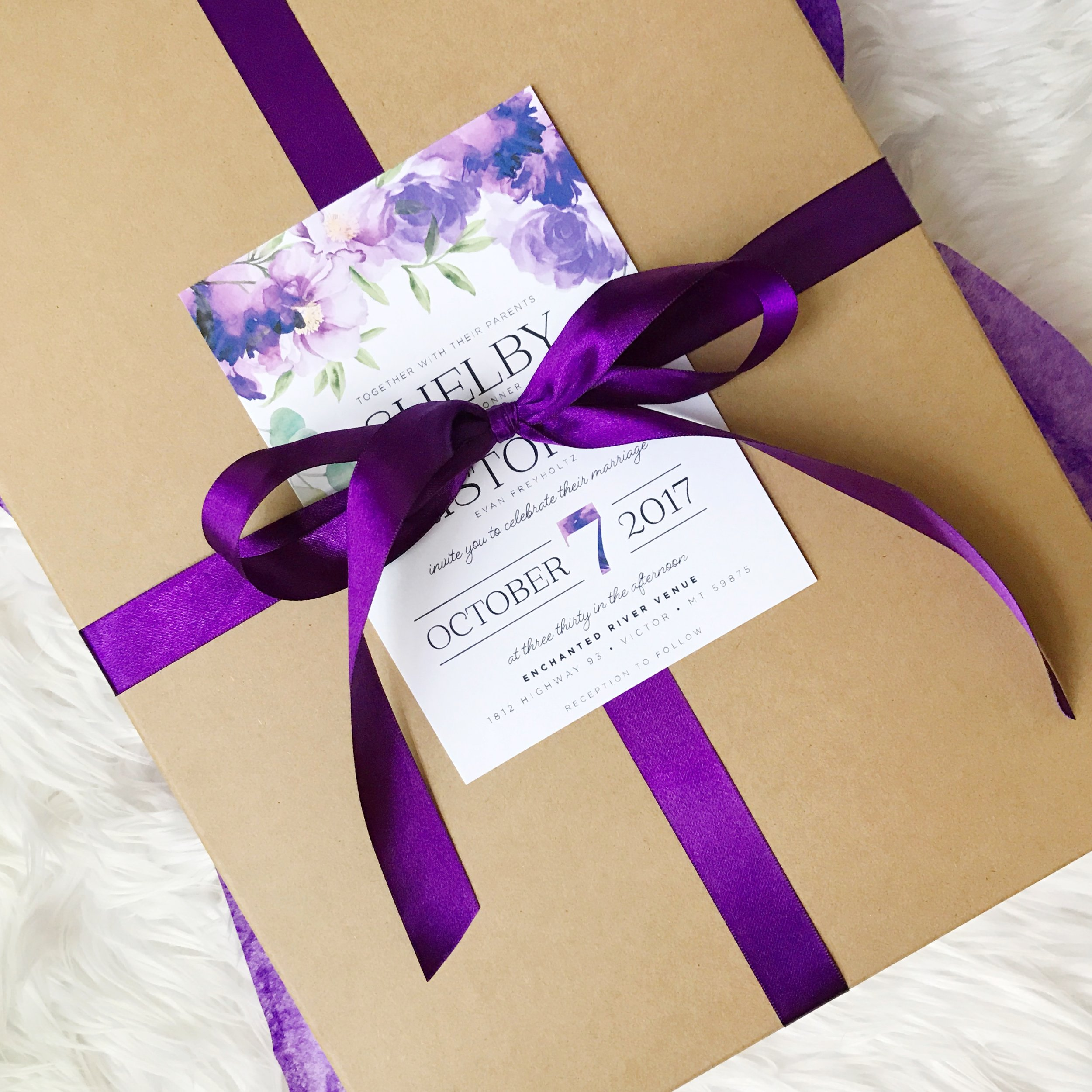 Ultra Violet Watercolor Floral wedding suite, packaged and ready to deliver to the bride