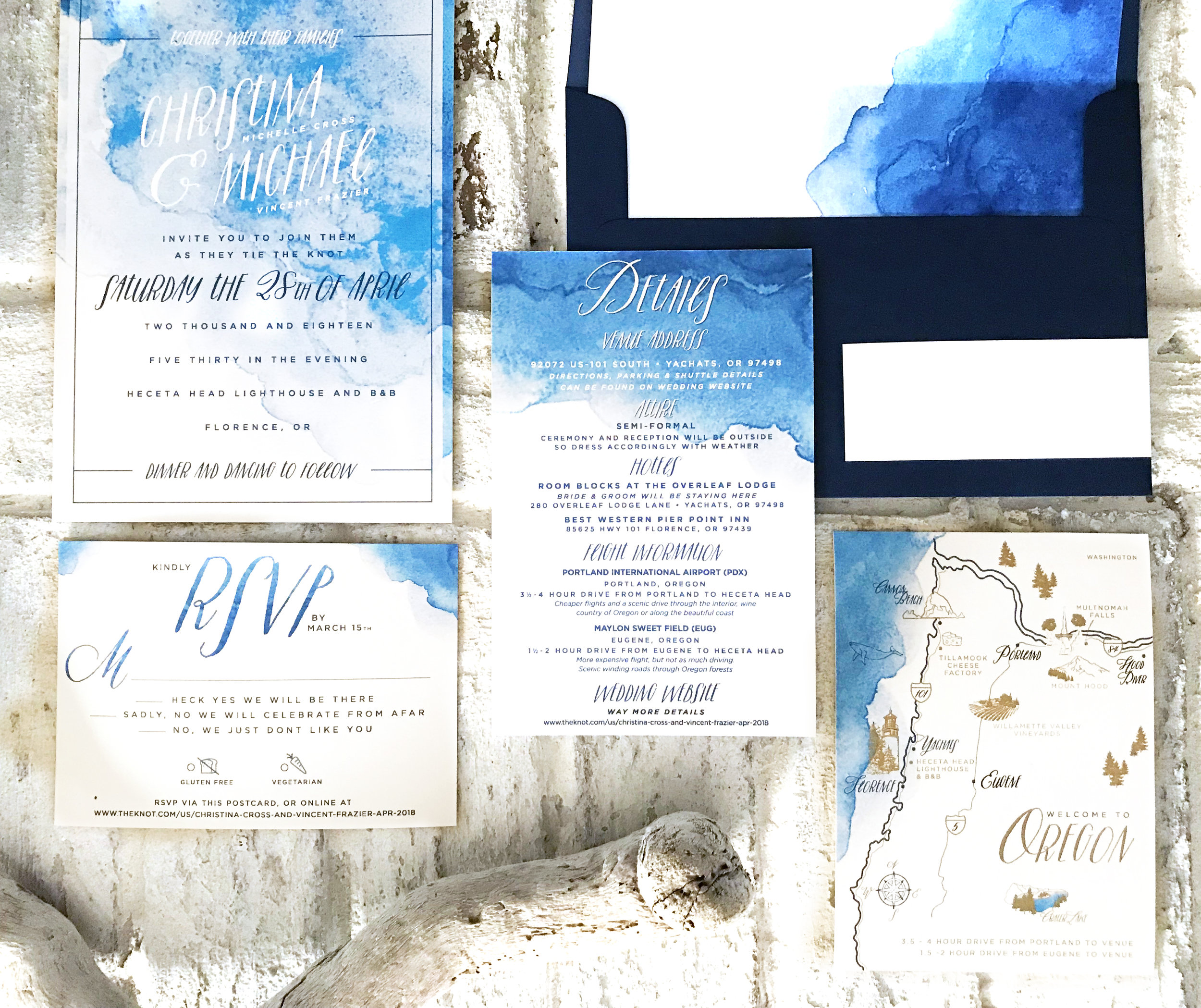 Custom Oregon coast wedding suite with illustrated map of Western Oregon including venue and amenities.