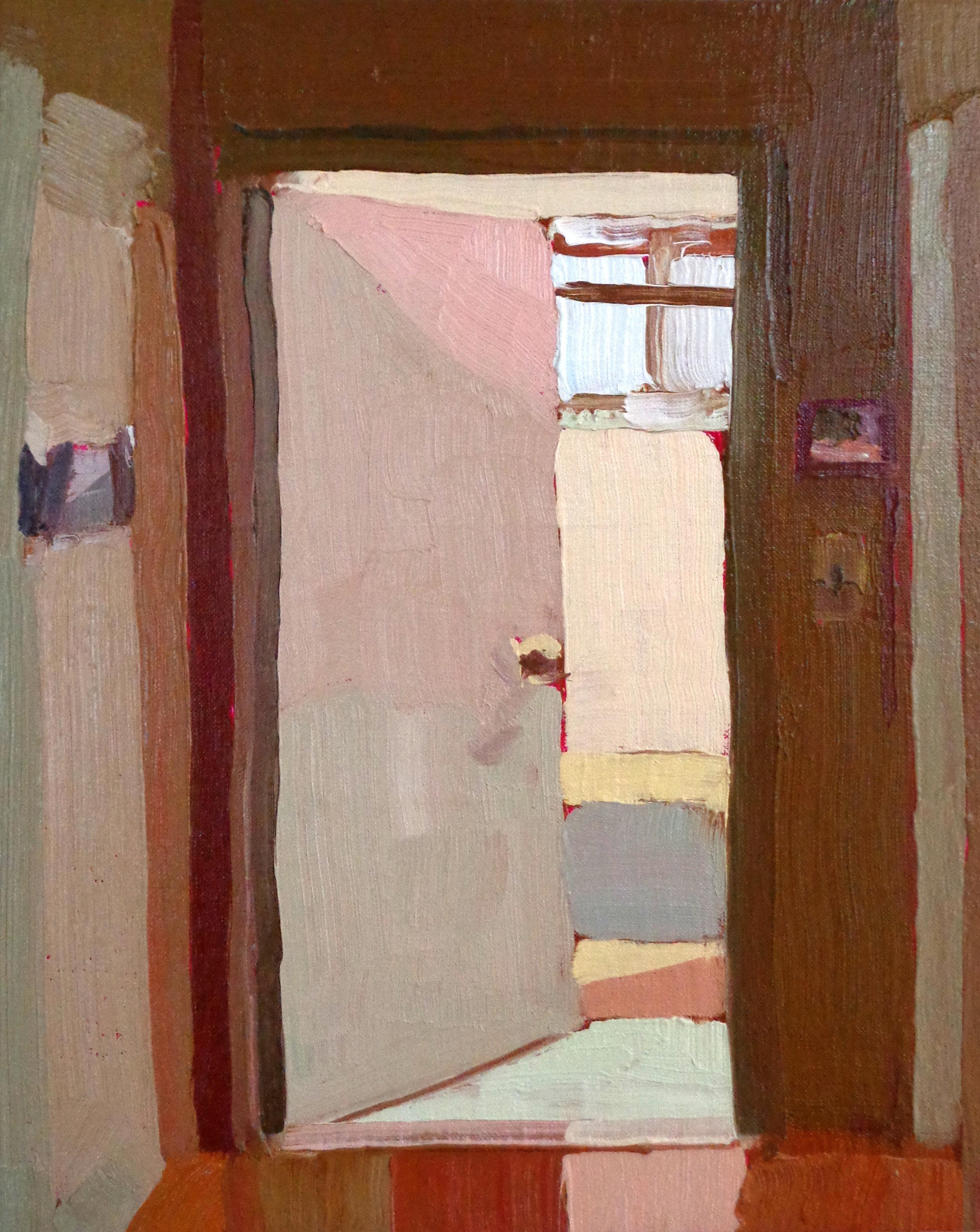 Keiran Brennan Hinton,Bathroom Door, 2016, oil on linen, 10 x 8 inches  SOLD