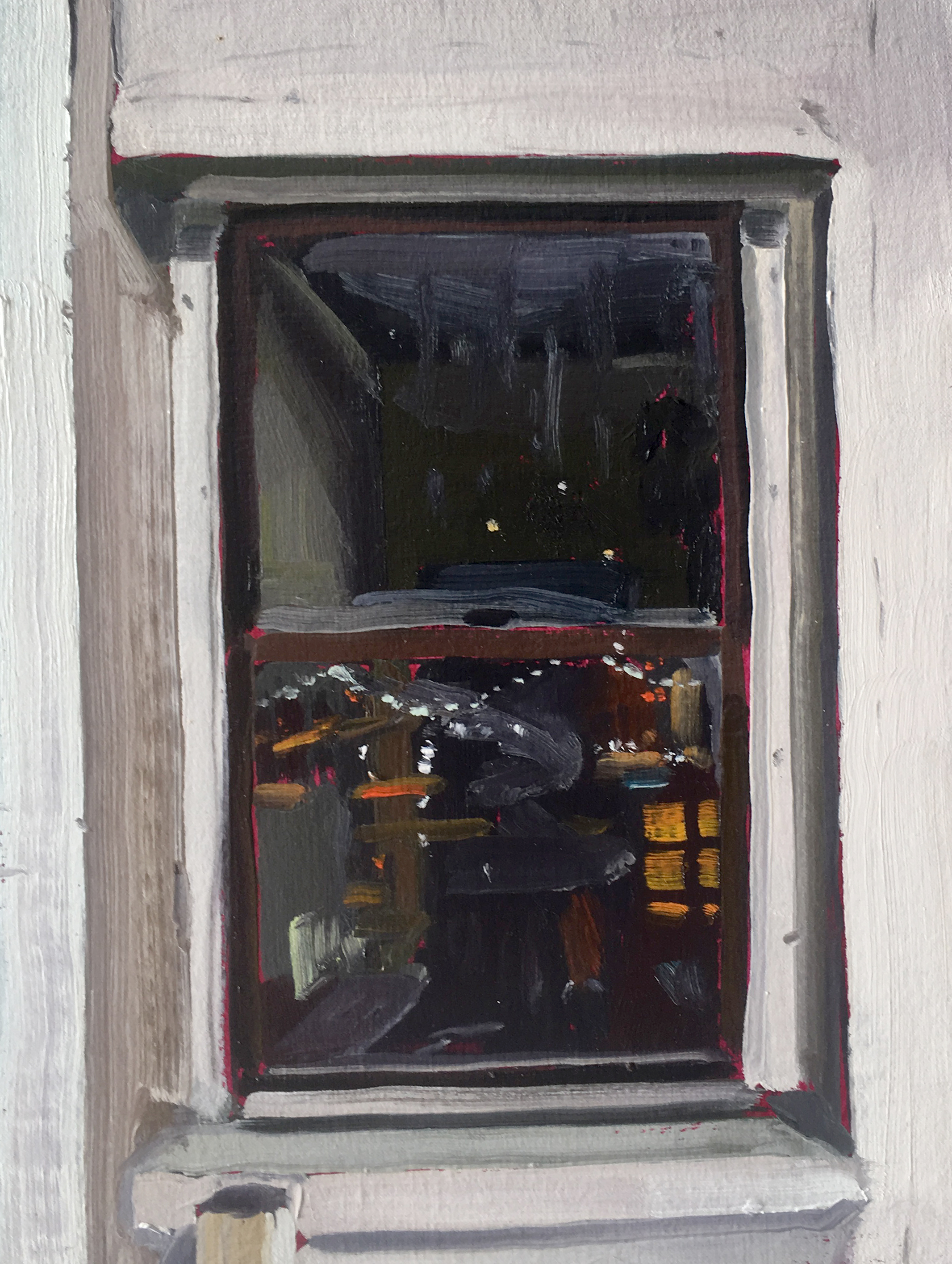 Keiran Brennan Hinton, Studio Window at Night (1) , 2016, oil on linen, 12 x 9  inches  SOLD