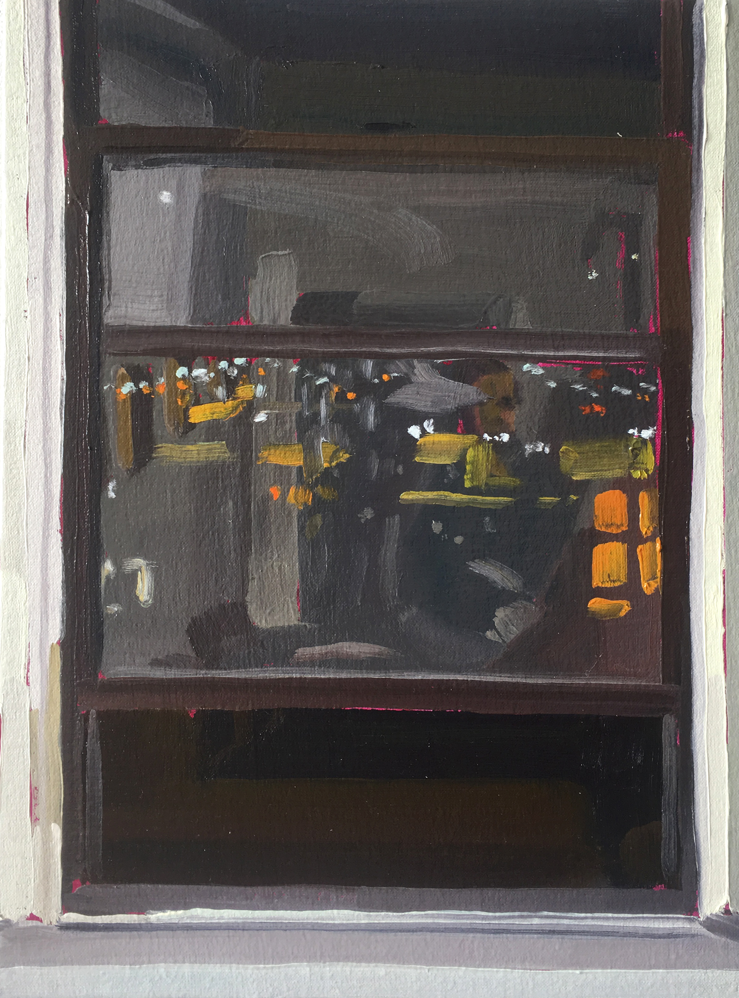 Keiran Brennan Hinton, Studio Window at Night (2), 2016, oil on linen, 12 x 9 inches  SOLD
