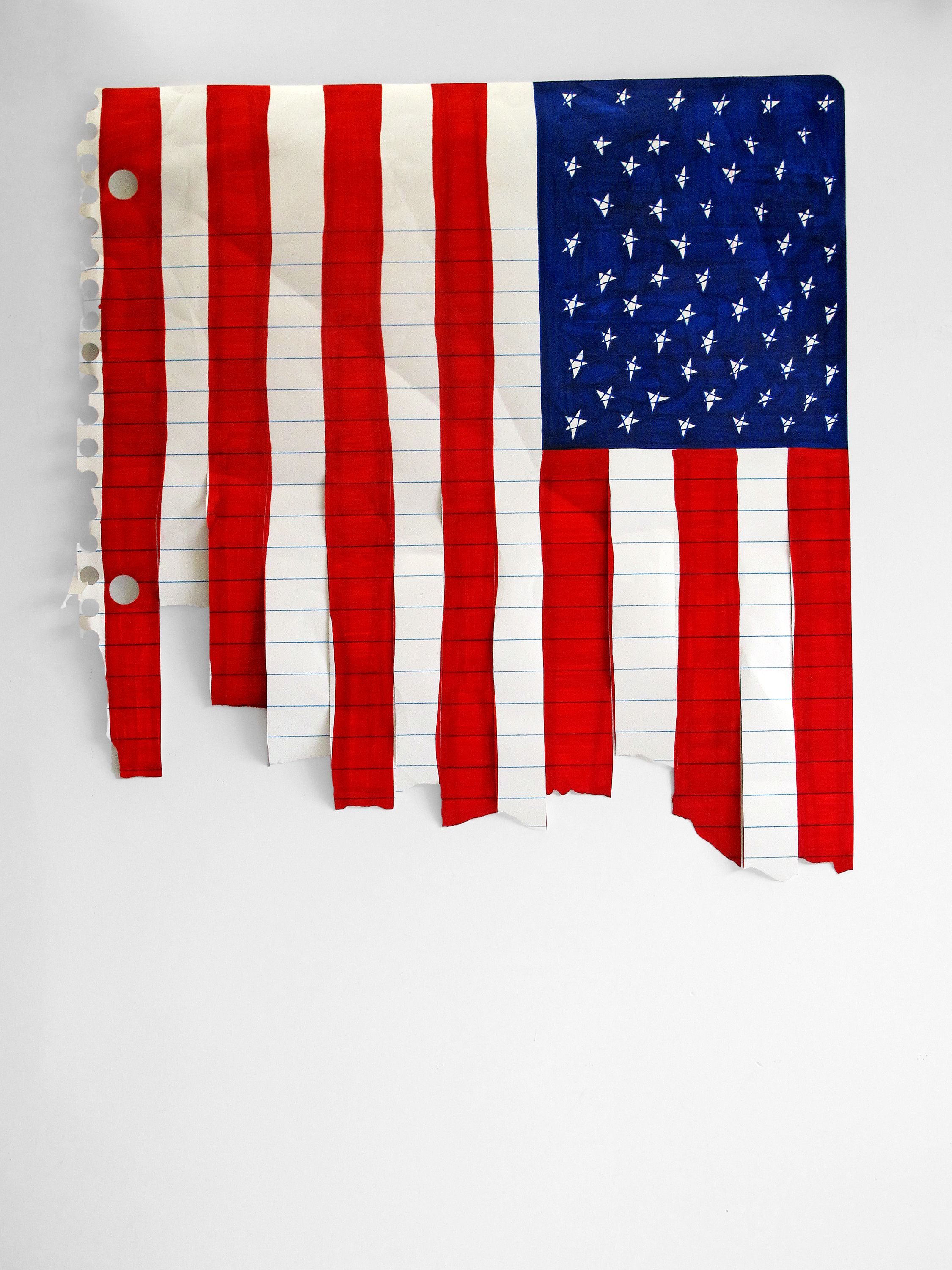 Michael Scoggins,Stars and Stripes Forever? (aka these colors don't run), 2006, marker, colored pencil on paper, 54 x 51 inches