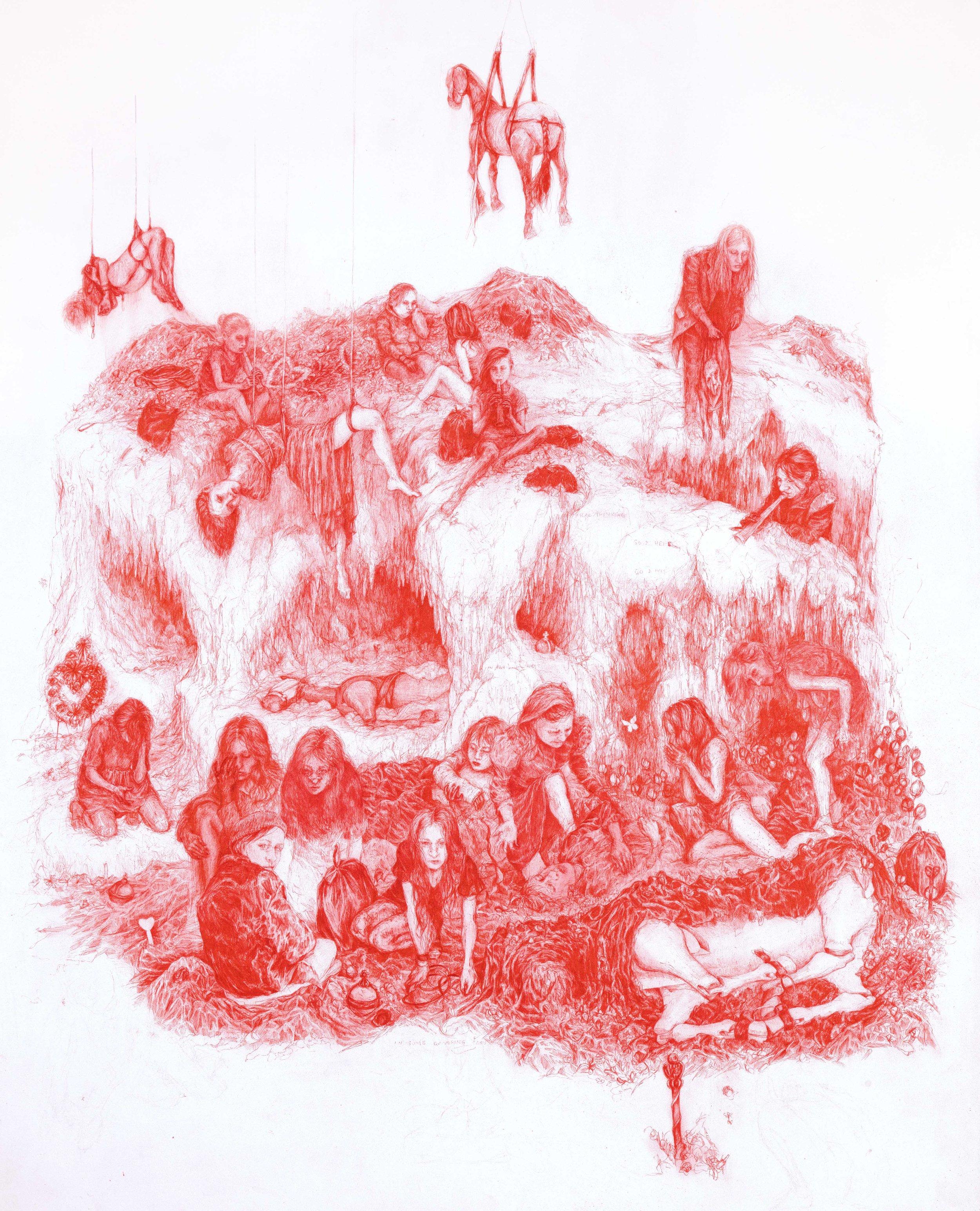 Rebecca Fin Simonetti, The Last Judgement, 2016  pen on paper, 20 x 30 inches