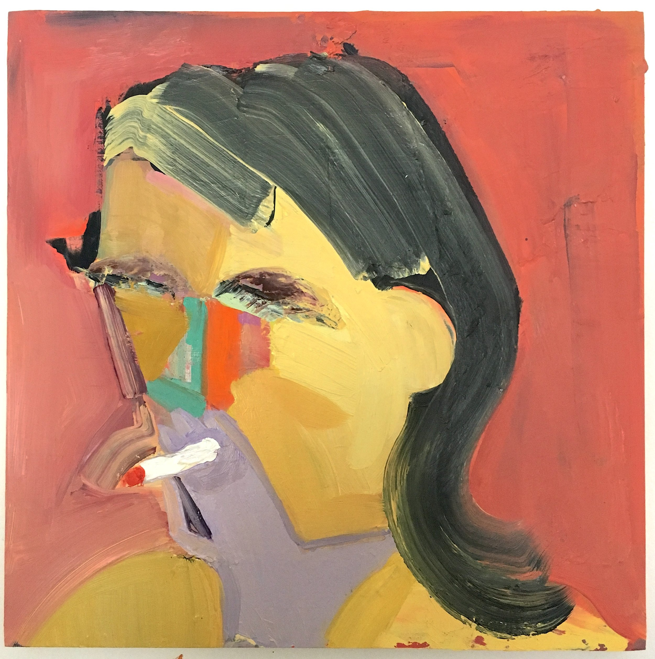 Danielle Orchard,Red Smoker, 2015, oil on panel 12 x 12 inches