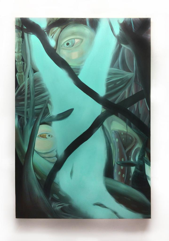 Claire Scherzinger,Thin Sun Thin Rain, oil and spray paint on canvas, 72 x 48 in, 2016.
