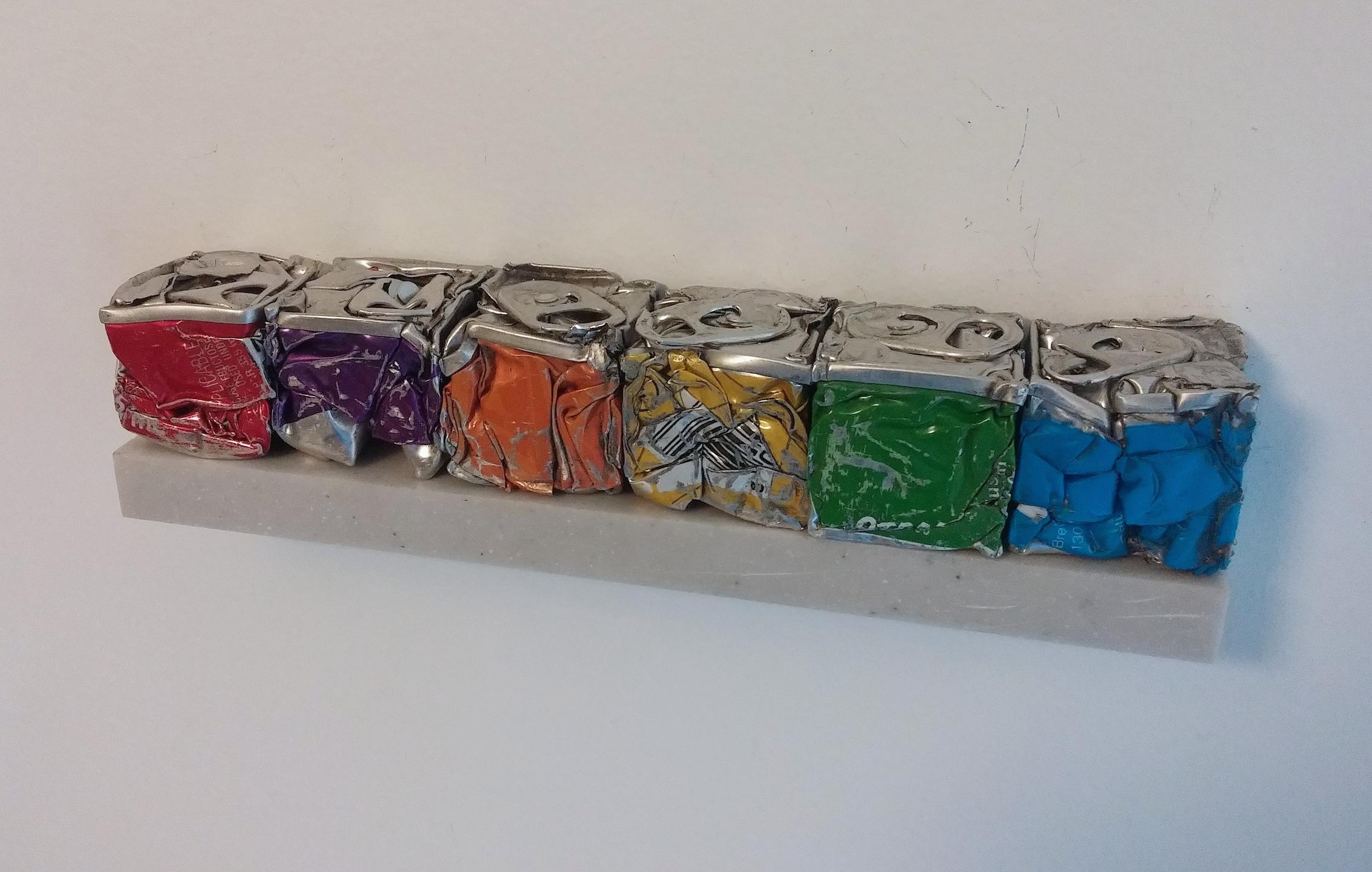 Robert Hengeveld,Itten Judd Study, Rainbow, 2016, Crushed aluminum cans, Varied open edition, 6 x 1 x 1 inches.