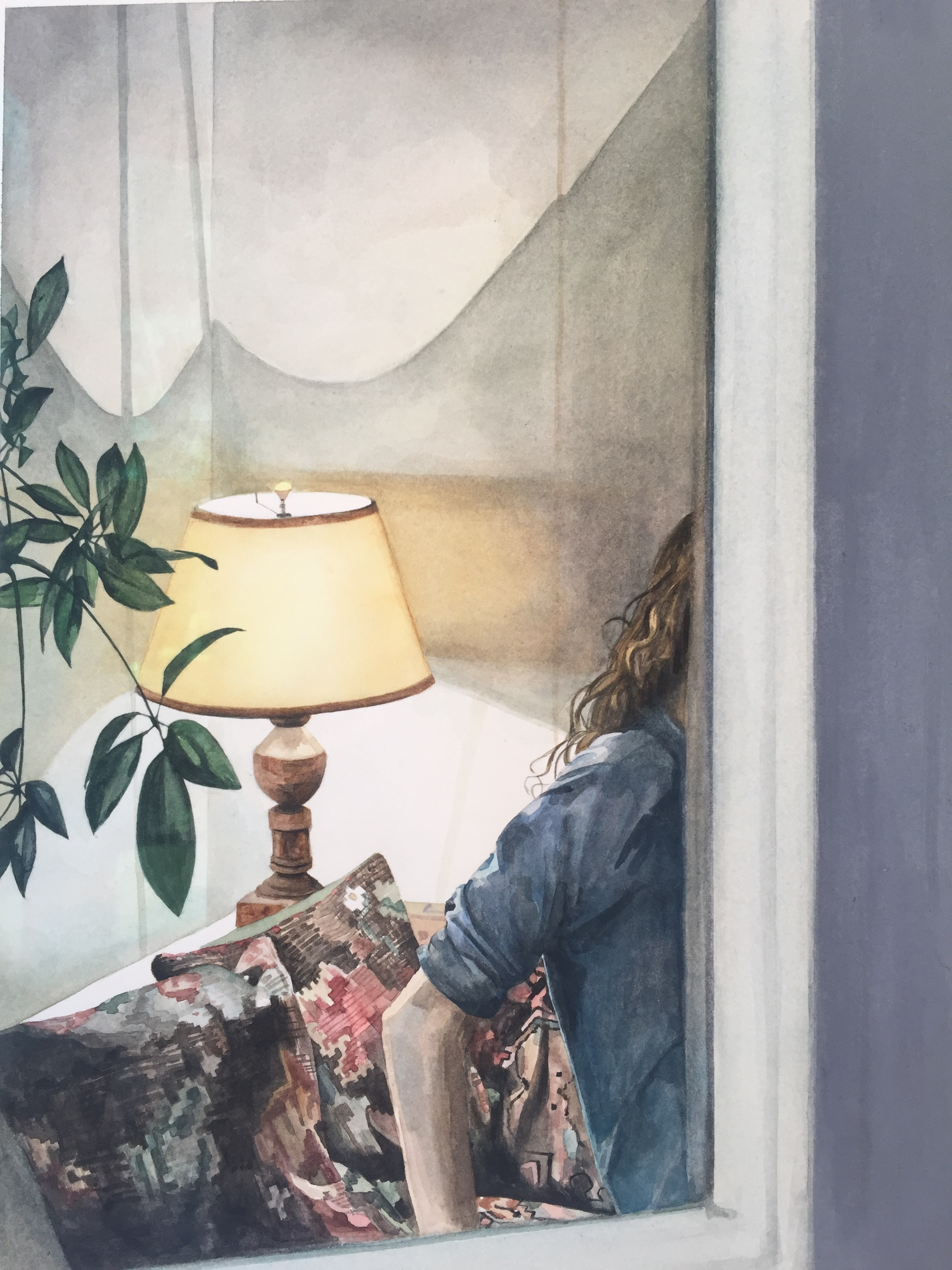 Heather Goodchild,Lamp through backdoor, 2016,watercolor on paper,12 x 9 inches.