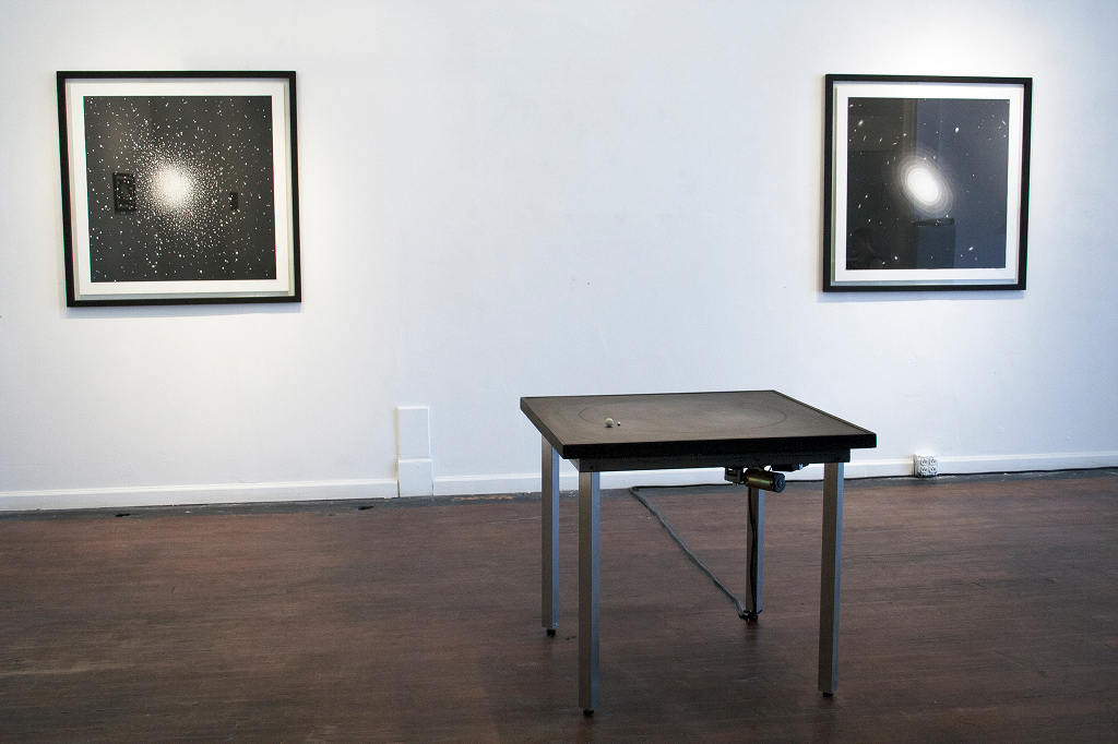 John Dickson, Large Ink Drawings Installation View, Fornax5 and NGC1132. Sprayed ink on paper, 92 x 92 cm each.