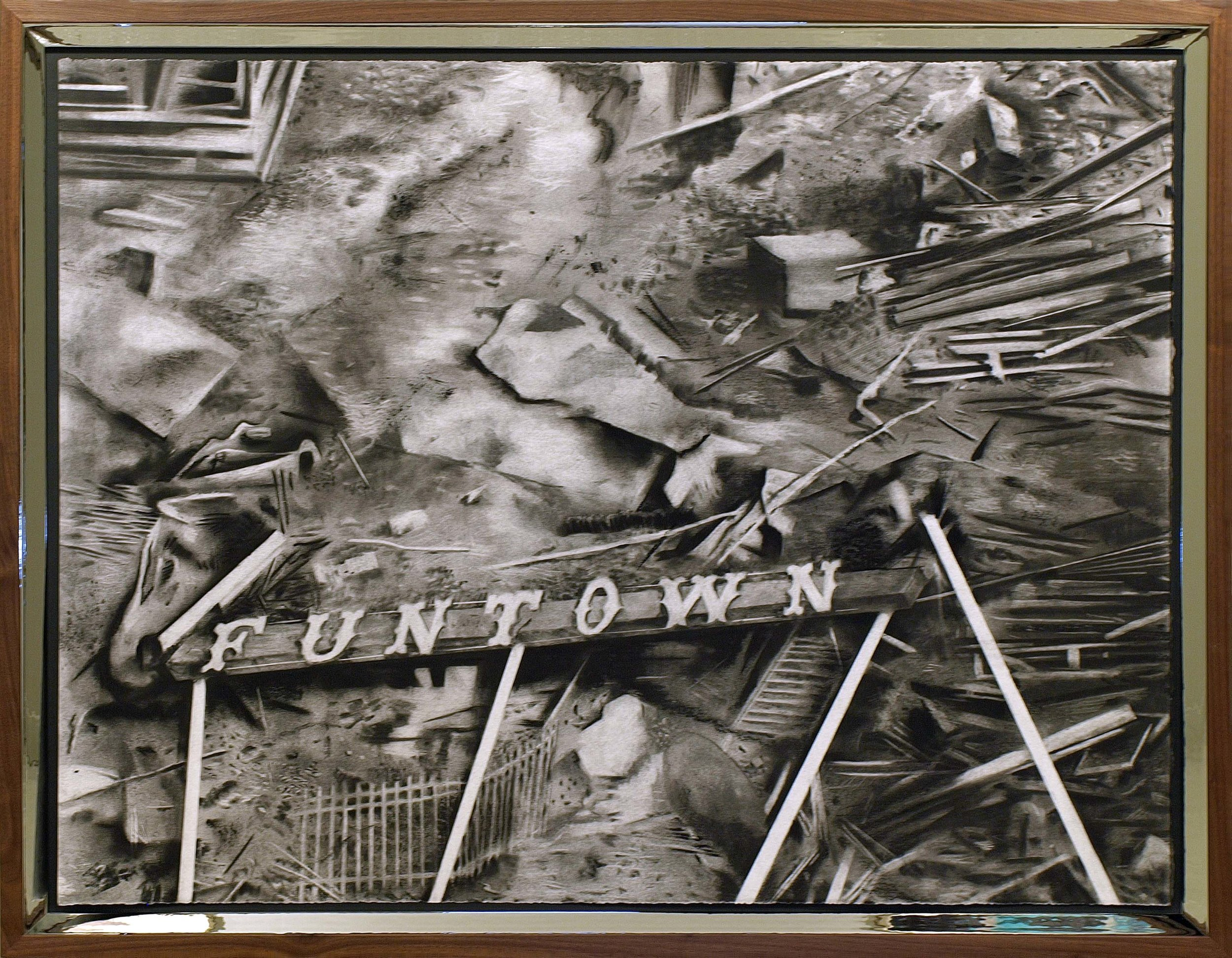Kyle Beal, Funtown: Electric Park Rubble and Rubble, 2014, Charcoal, pastel on paper, walnut wood frame with mirrored MDF frame, 34 x 44 inches.