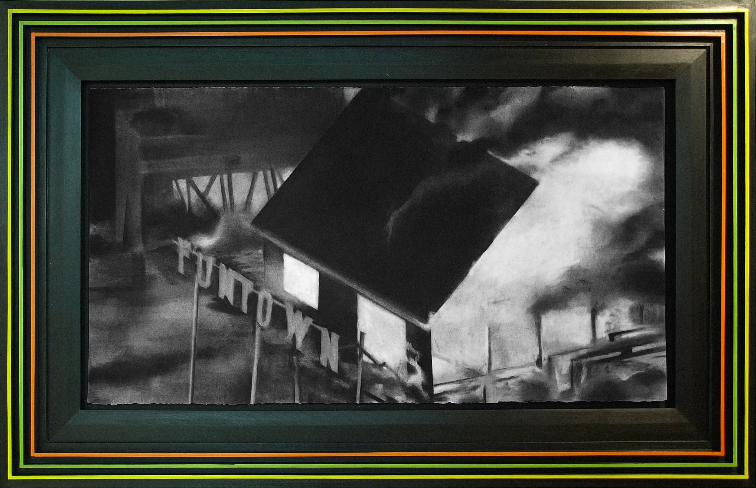 Kyle Beal, Funtown: Boardwalk Thrills Like No Other Park!, 2014, Charcoal, pastel on rag paper. black stain and acrylic 36 ½ x 56 1/2 inches.