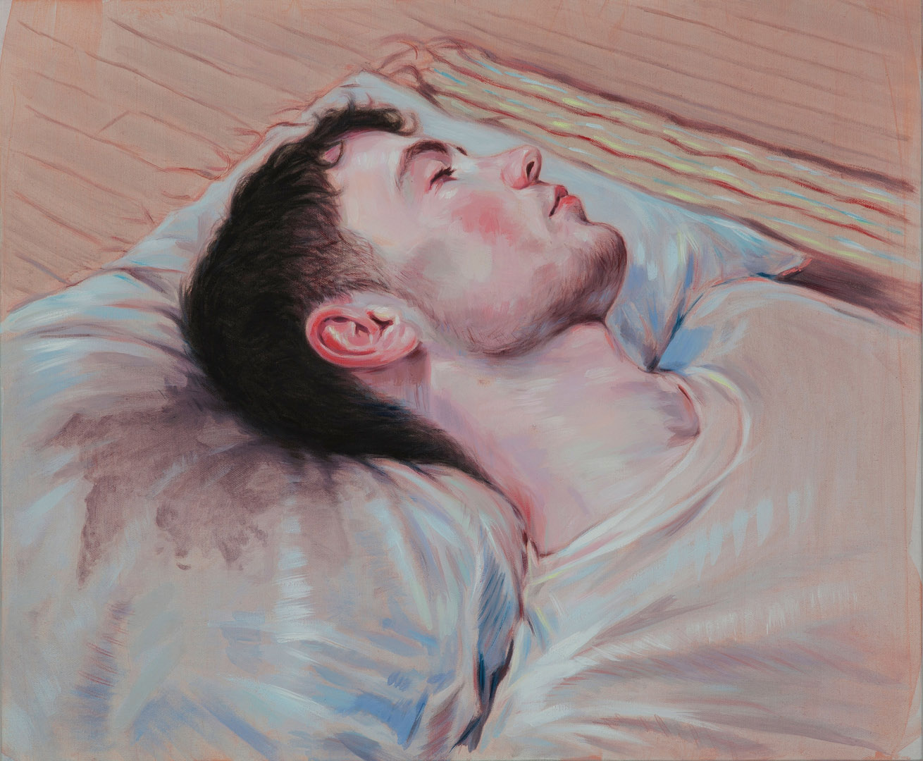 Kris Knight, Black Dye Pillowcase, 2015, oil on canvas, 24 x 20 inches.