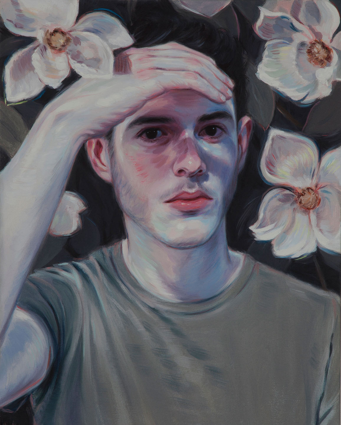 Kris Knight, His Eyes Were Black Like A Bird's, 2015, oil on canvas, 20 x 16 inches.
