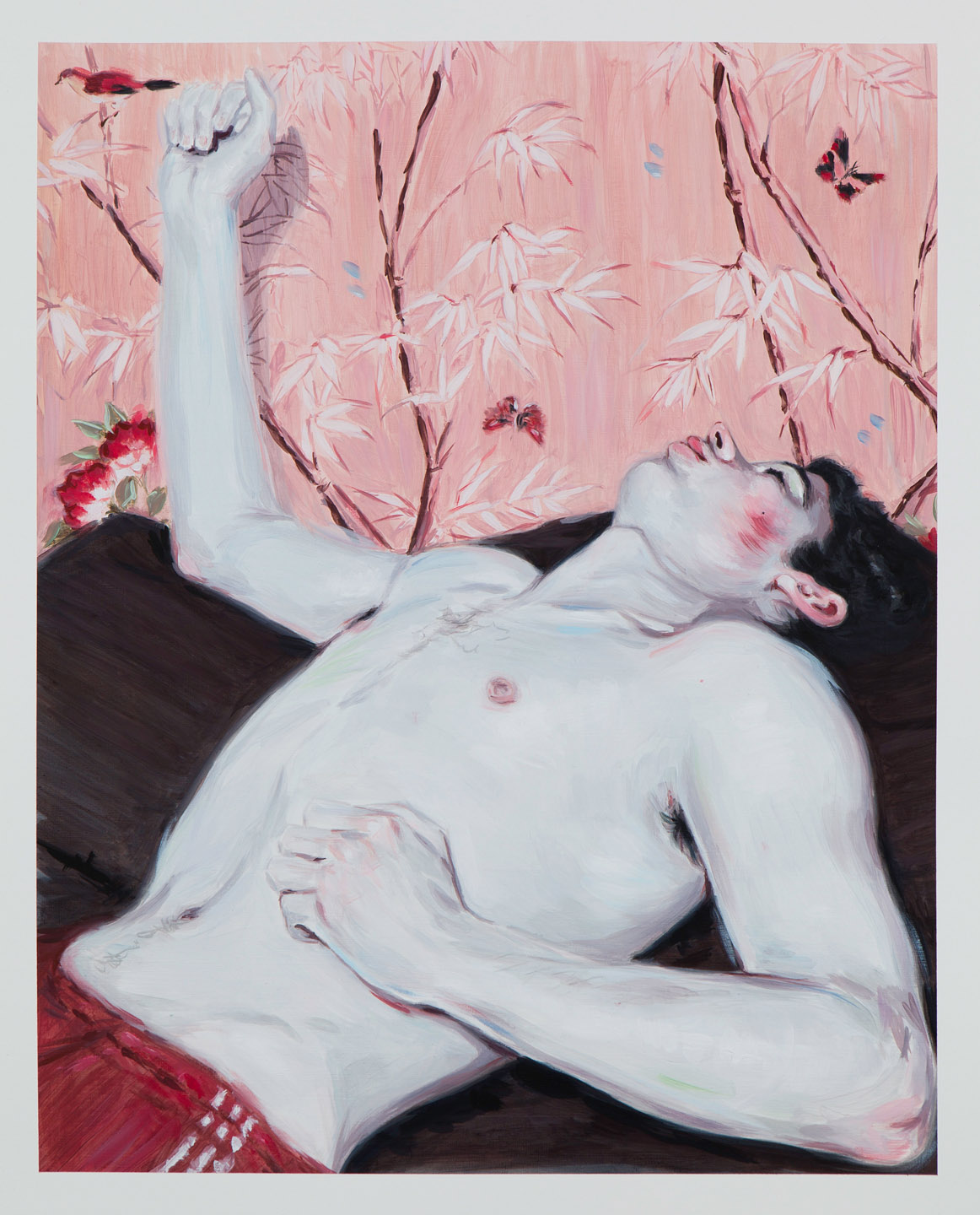 Kris Knight, Lounge Act, 2015, oil on prepared cotton paper, 20 x 16 inches.
