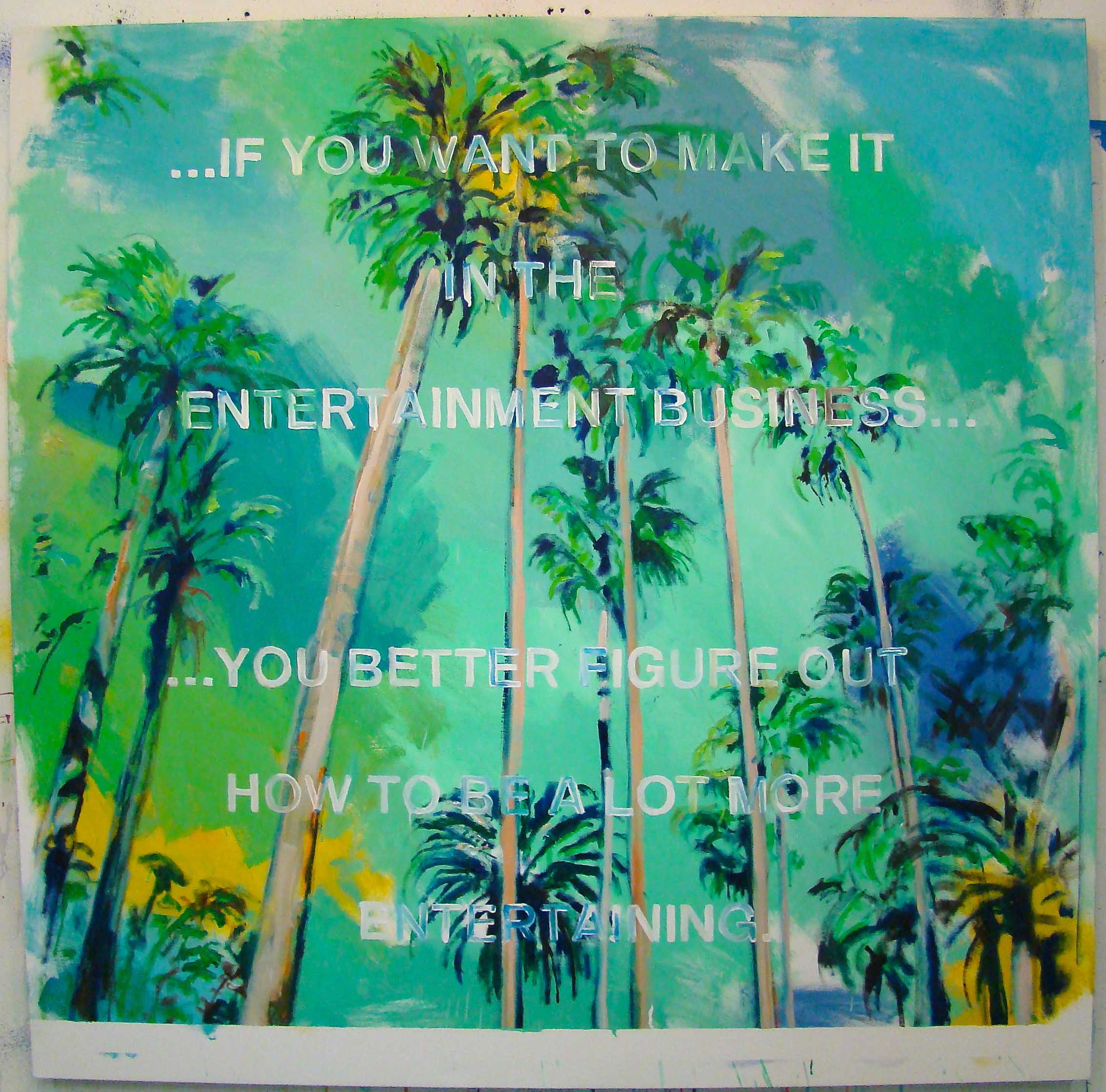 David Kramer, Note To Self, 2015, oil, enamel, newsprint, archival glue, canvas, 61 x 60 inches