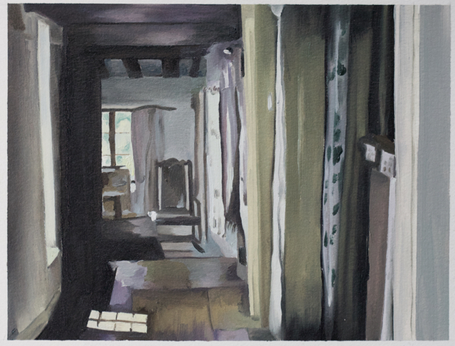 Heather Goodchild, Just Checking, 2015, oil on prepared paper, 9.25 x 7 inches.