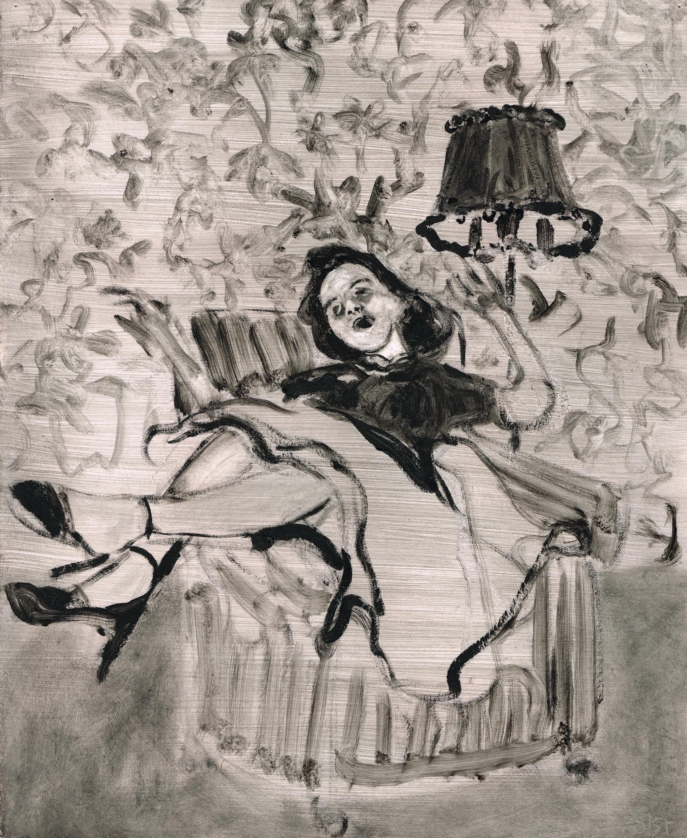 Dana Holst, Slattern, 2012, encaustic and oilstick on prepared paper, 14 x 11.5 inches.