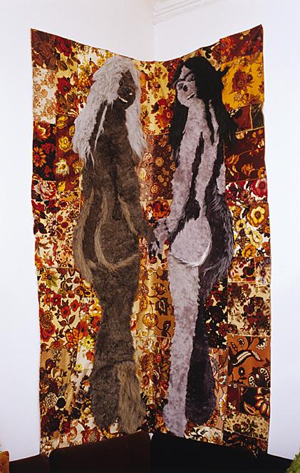 Three's A Crowd, 2005, Borg on Olefin, 91 x 65 inches.