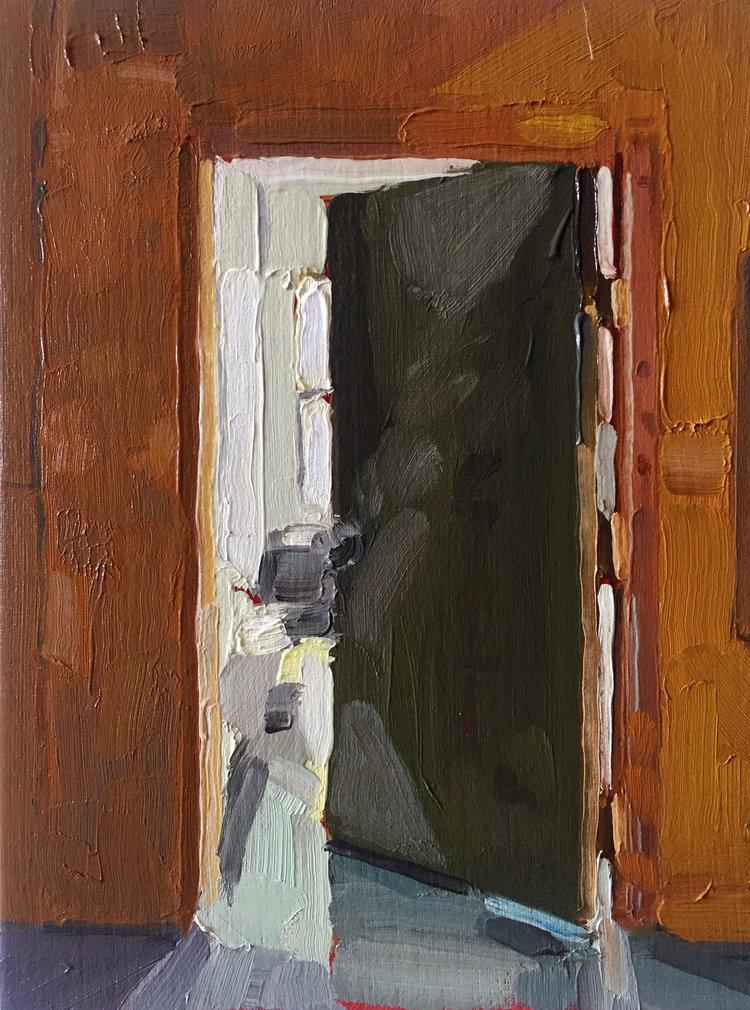 Studio Door (Day), 2017,oil on linen,12 x 9 inches. SOLD