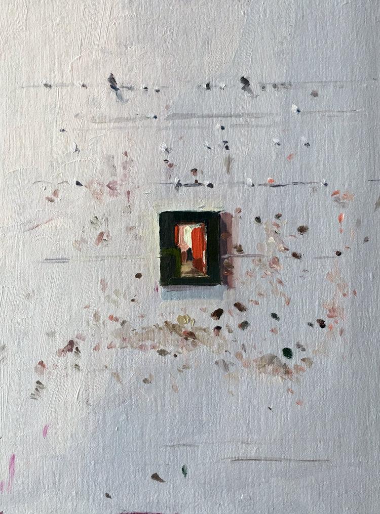 Studio Wall (Orange Door), 2017,oil on linen,12 x 9 inches. SOLD