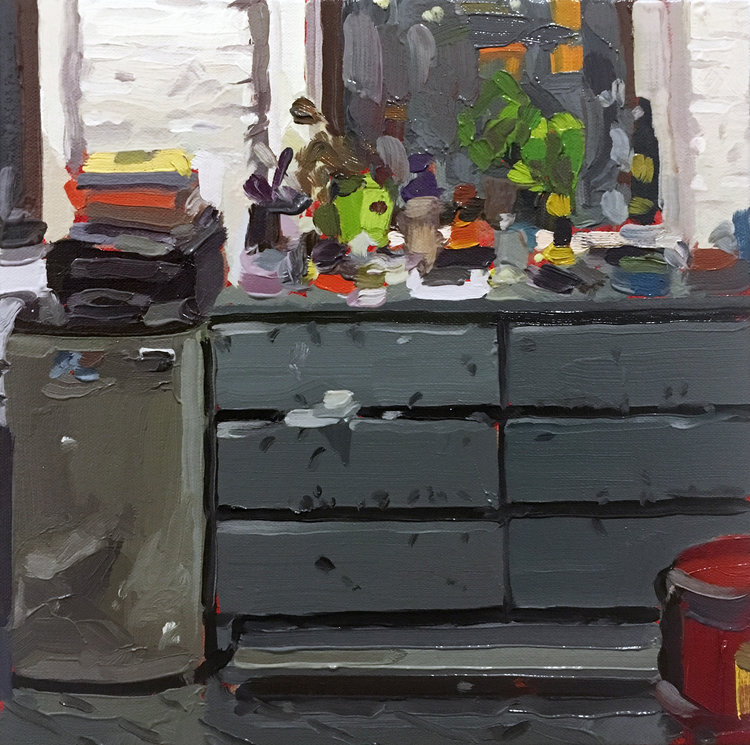 Studio Drawers, 2017,oil on canvas over panel,10 x 10 inches.  SOLD