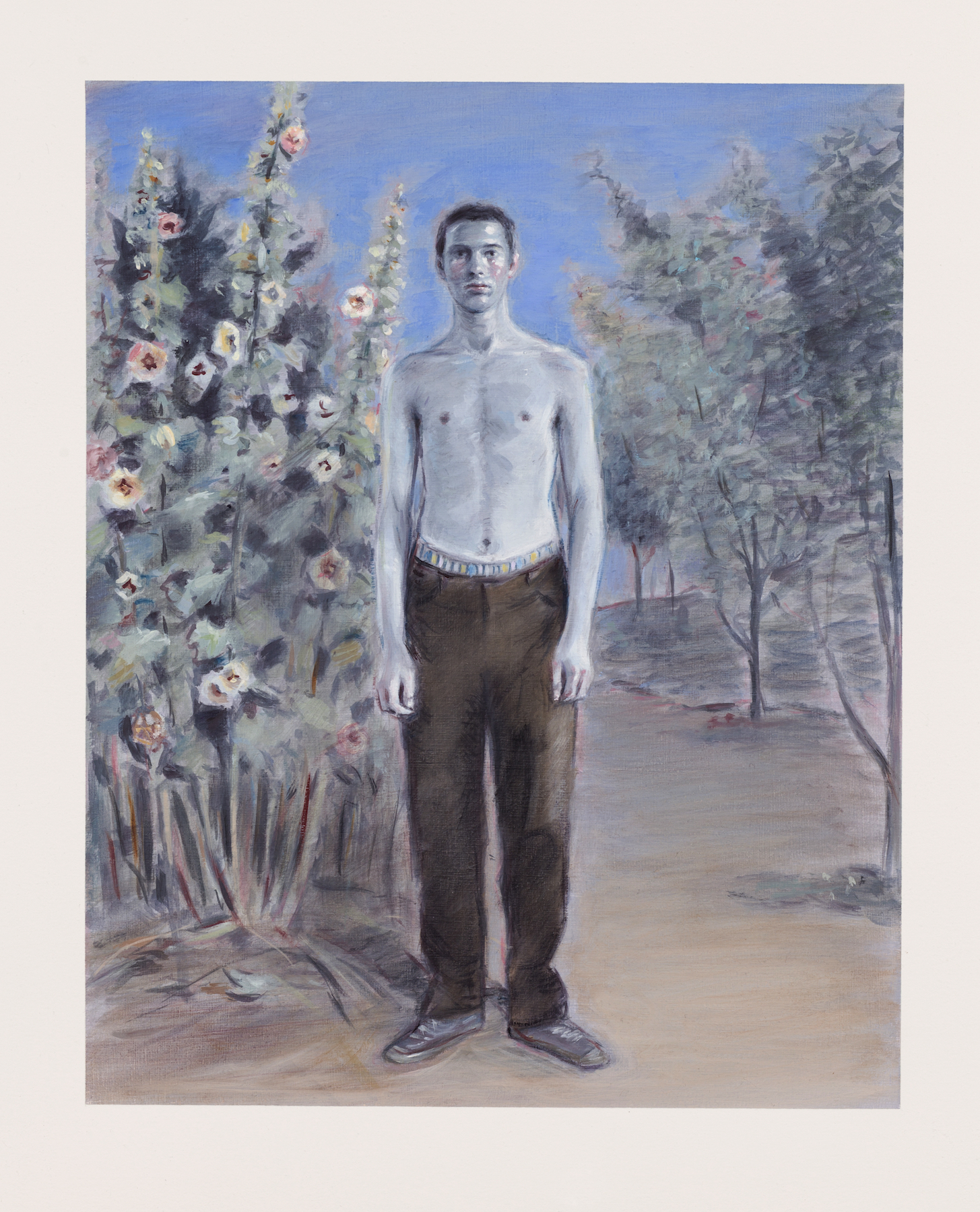 Kris Knight,Purple Blue, Summer 96, 2017, oil on prepared cotton paper, image : 14x11inches