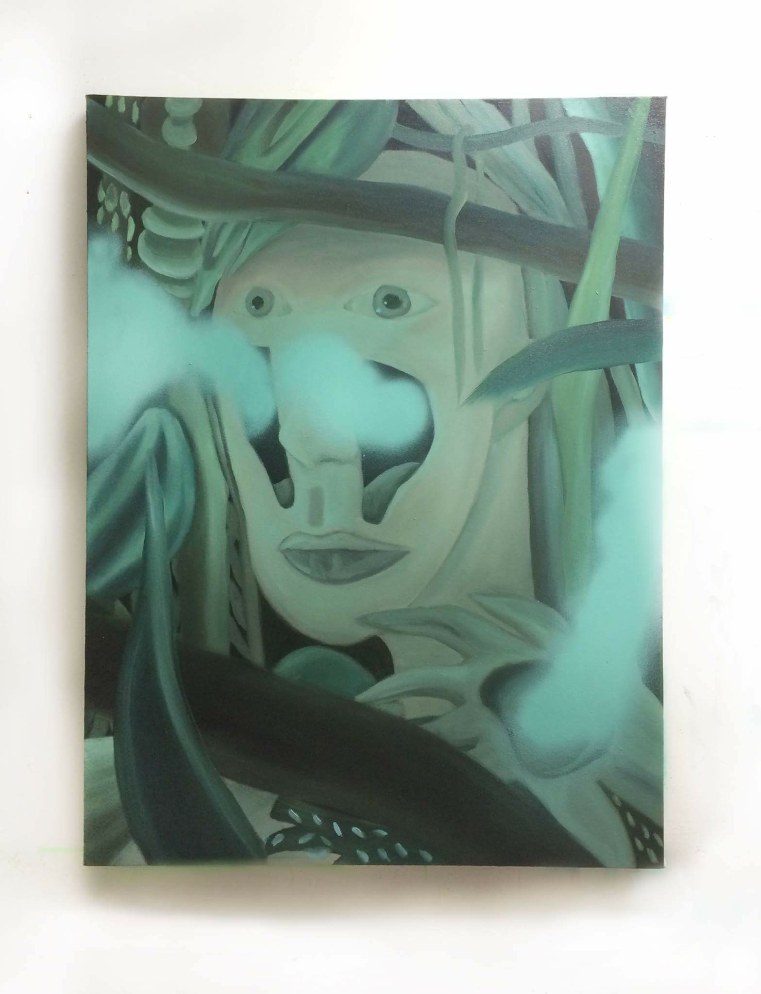 Claire Scherzinger,Uncorking,2016,oil and spray paint on canvas,40 x 30 in.