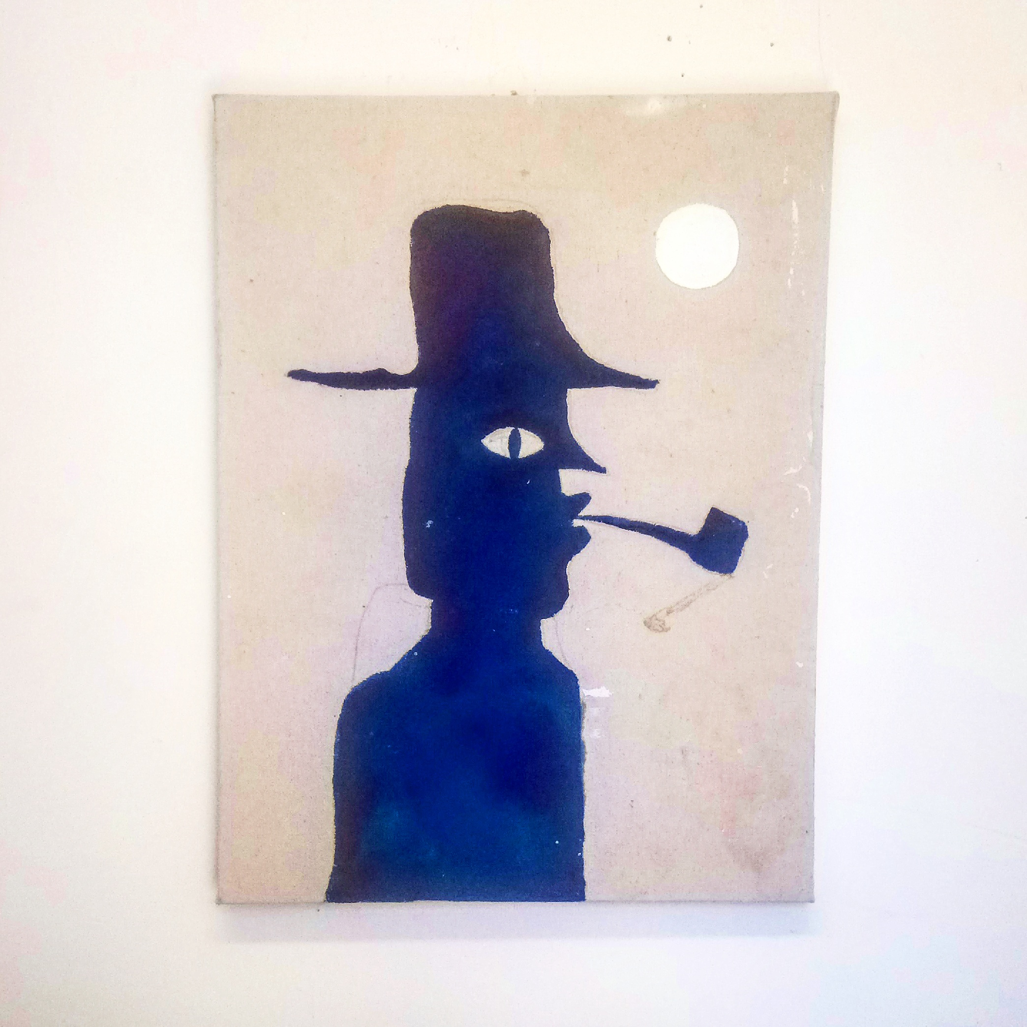 Romas Astrauskas,Man With Pipe and Moon (raw cotton)), 2017, acrylic on raw cotton, 24 X 18 inches