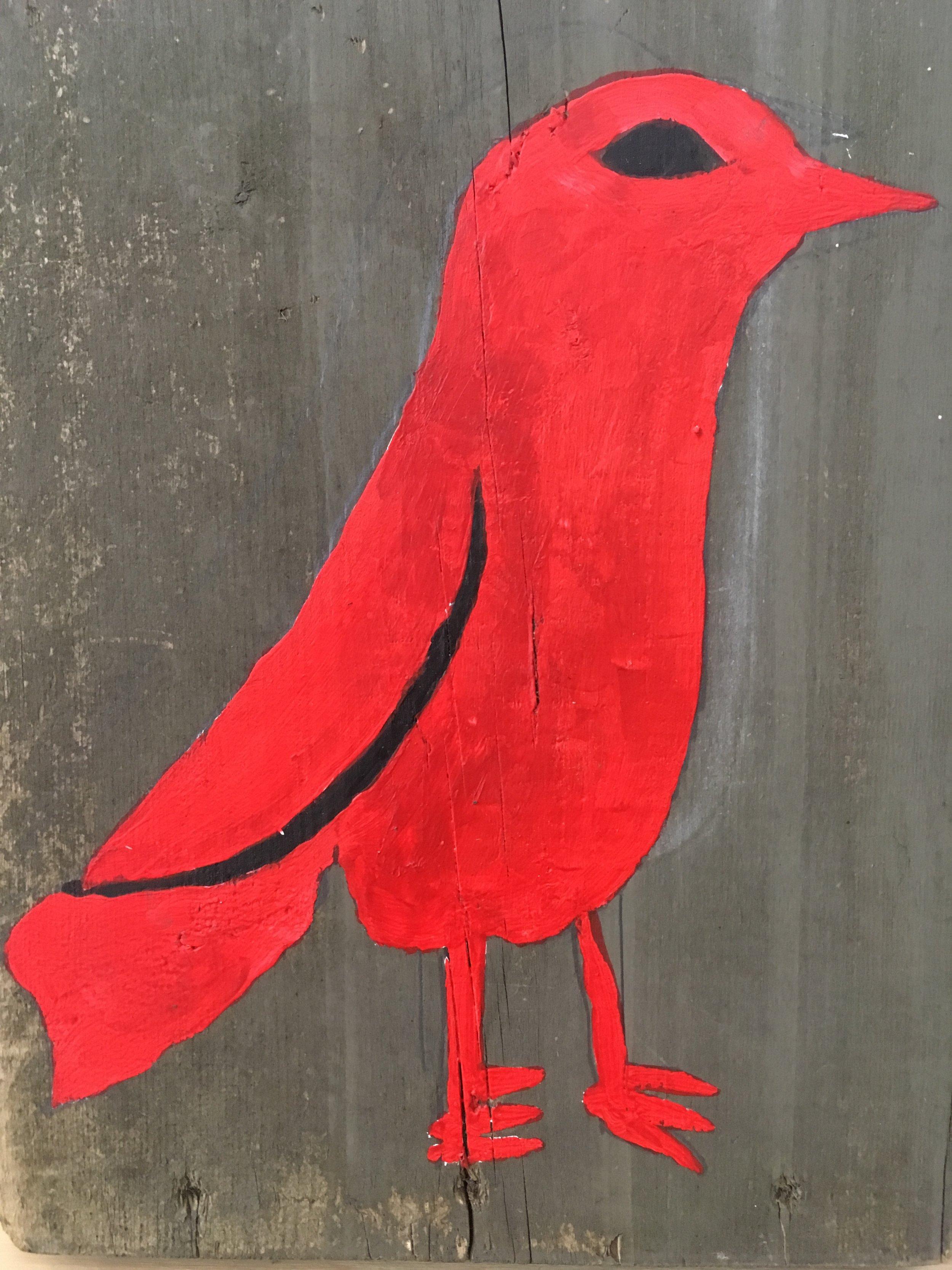 Romas Astrauskas,Red Bird, 2017, acrylic on wood, 12 X 9 inches