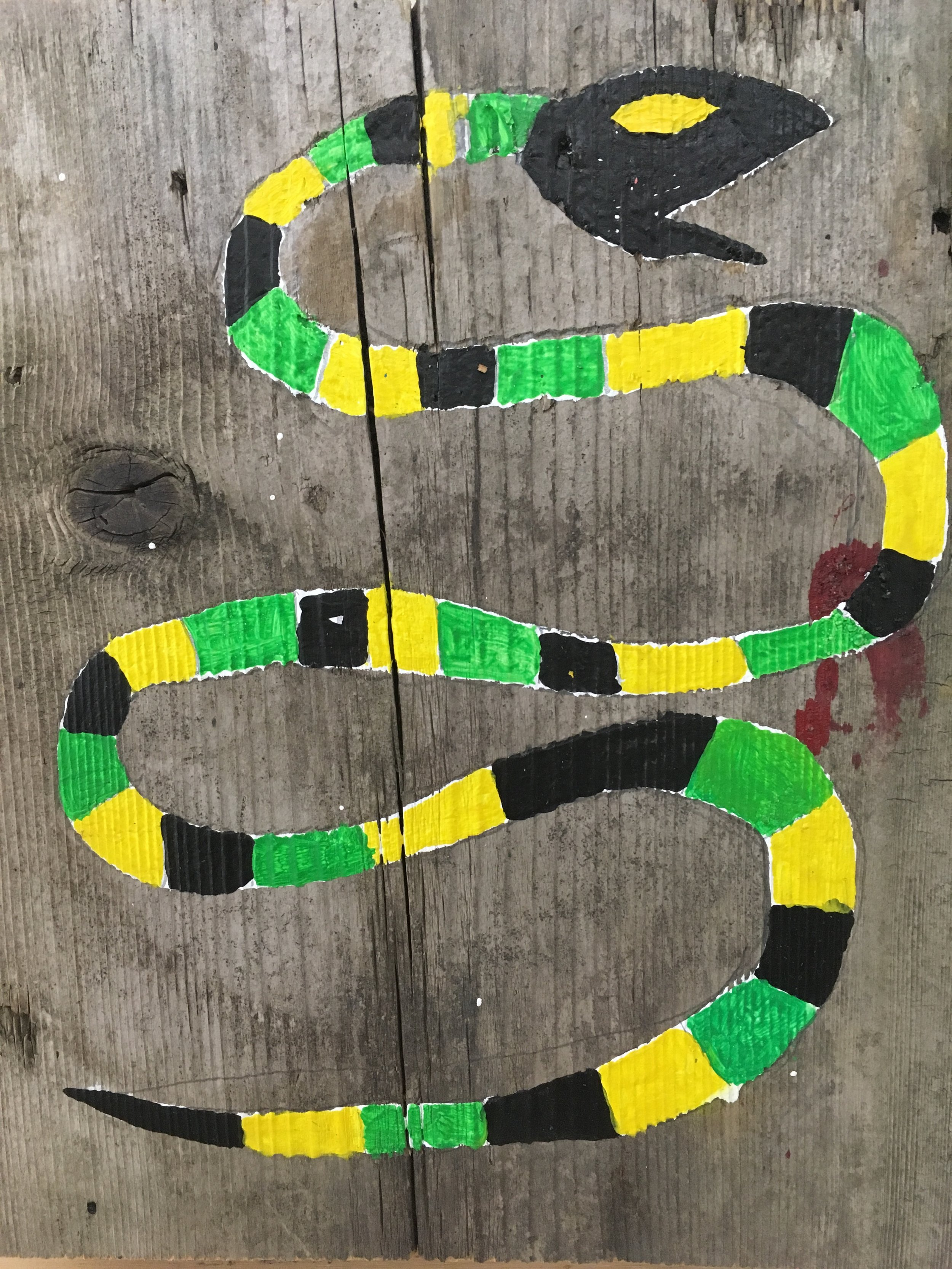 Romas Astrauskas,Untitled (Snake), 2017, acrylic on wood, 10.5 X 9 inches