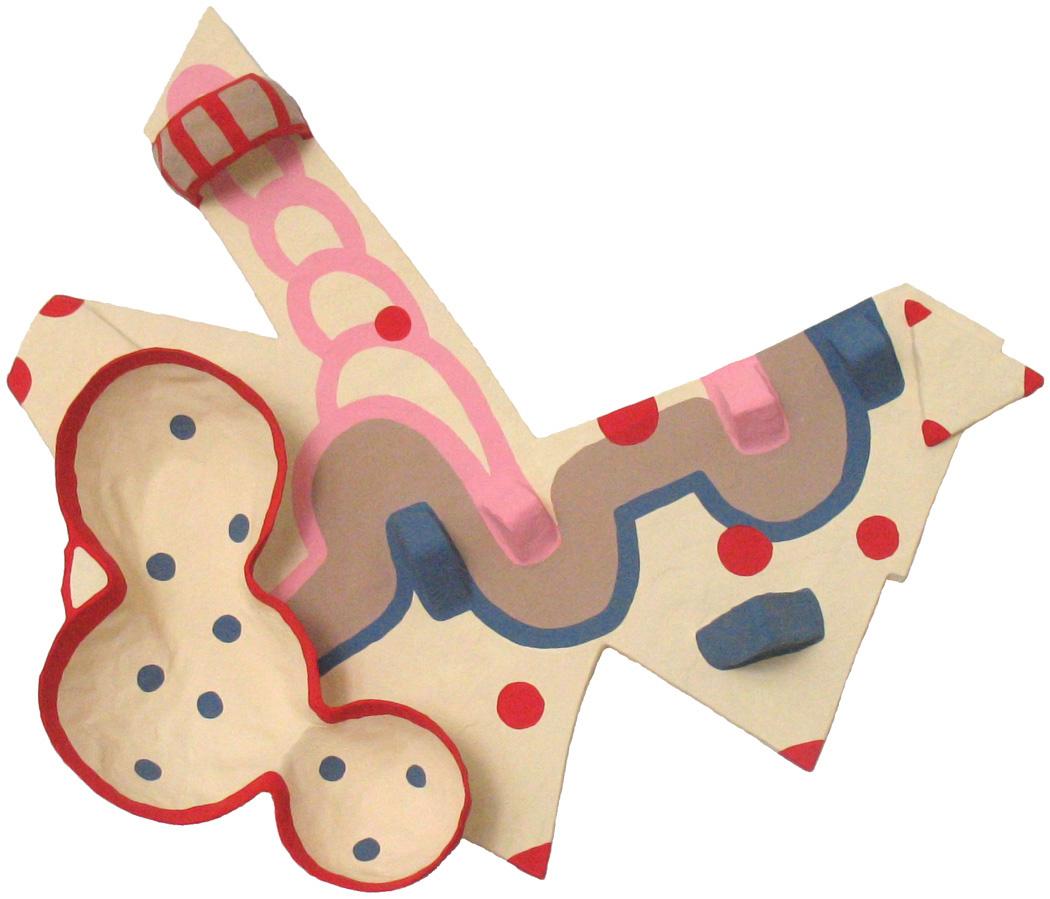 Vogue,2010-11,paper-mâché, cardboard, wood, aluminum foil,acrylic-gouache,50 x 43 x 7 cm